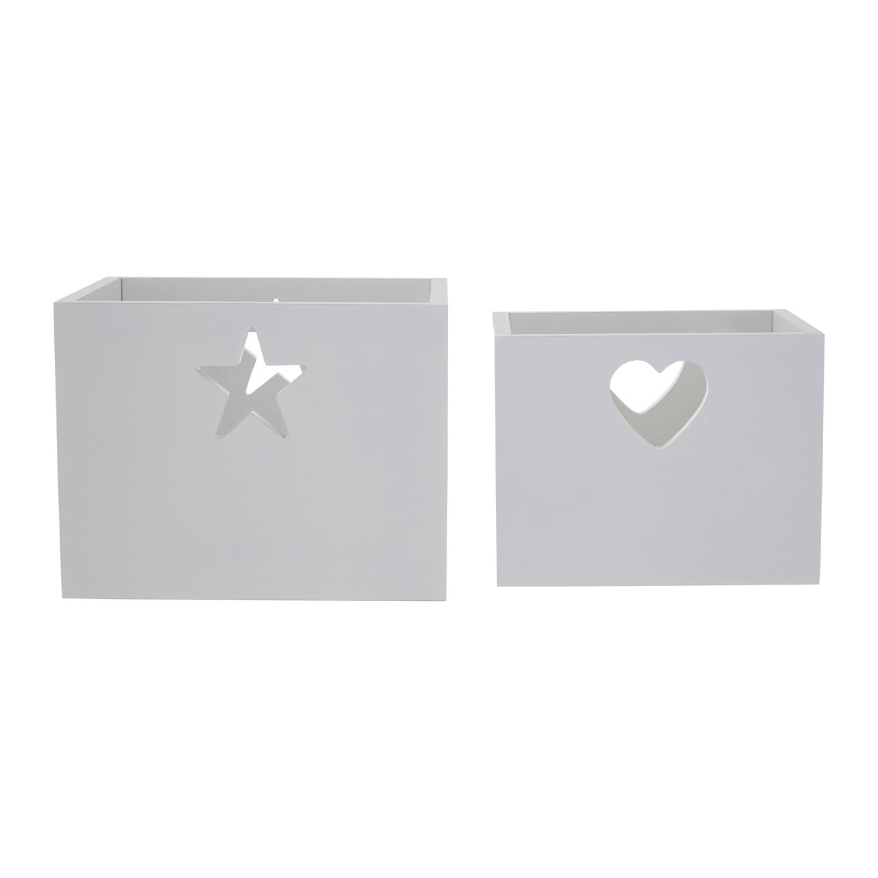 Prime Furnishing Heart and Star Design Kids Storage Boxes -White