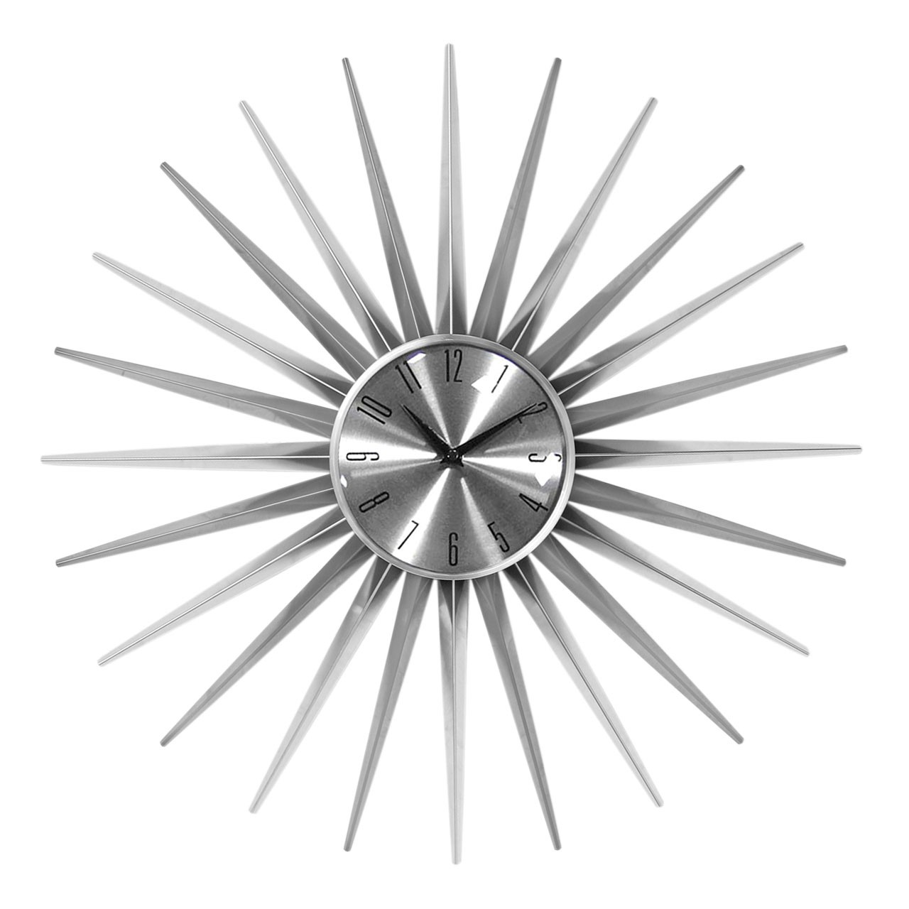 Wall Clock, Sunburst, Silver/Silver Face