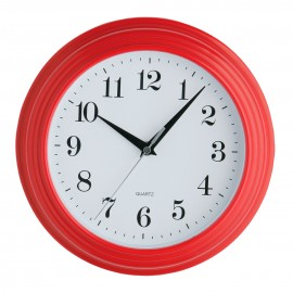 Wall Clock, Vintage, Red Plastic