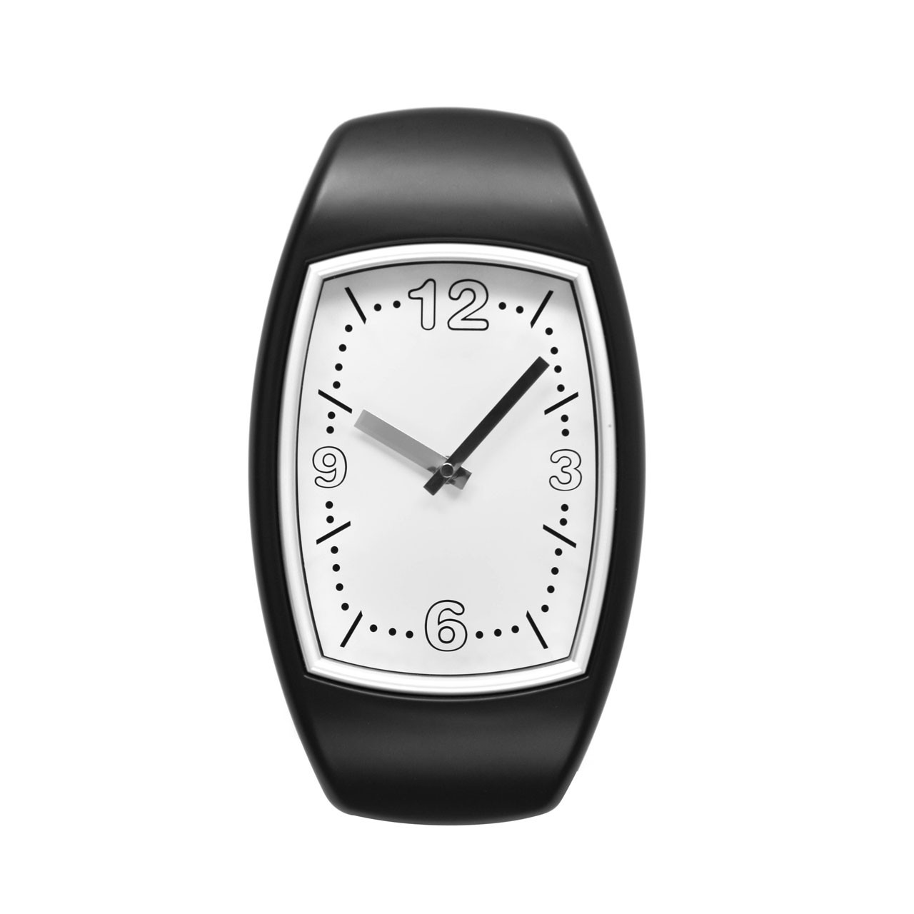 Oval Wall Clock - Black/Silver