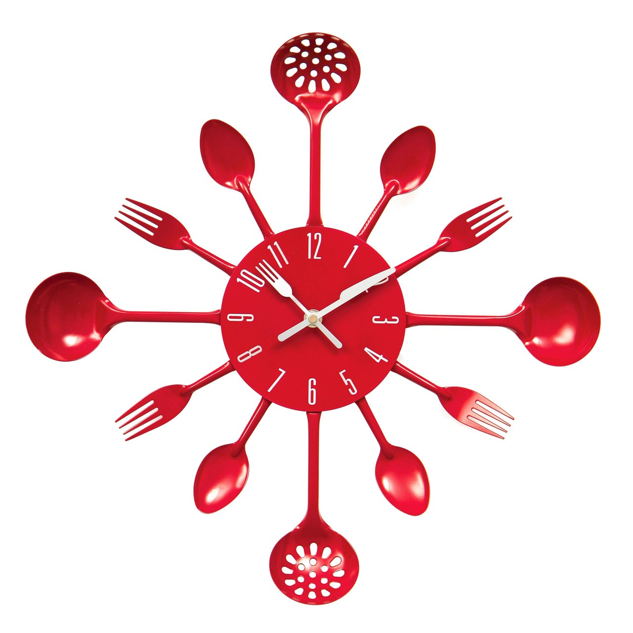 Prime Furnishing Cutlery Wall Clock - Red