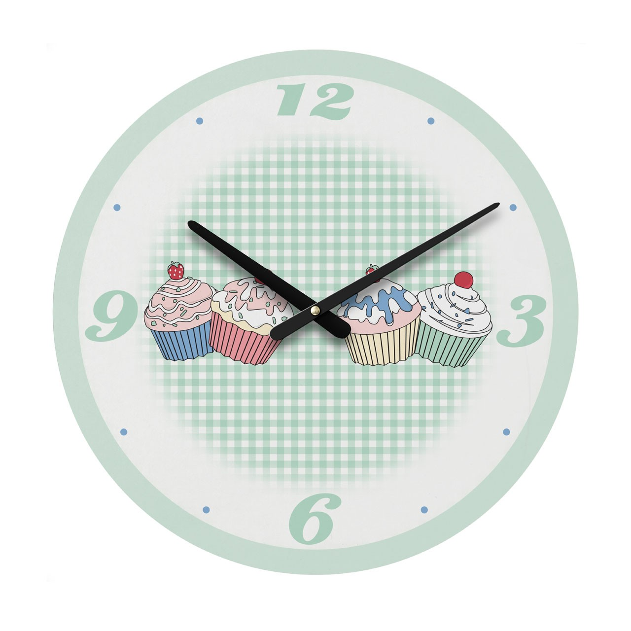 Green Cupcake Design Wall Clock Different Style Beautiful for Ho