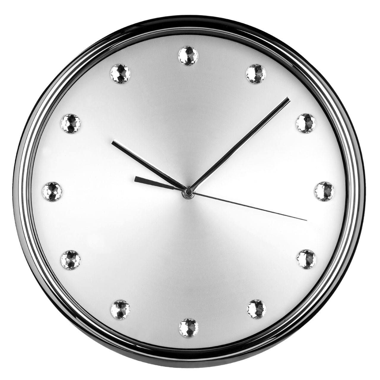 Diamante Wall Clock, Stainless Steel - Silver