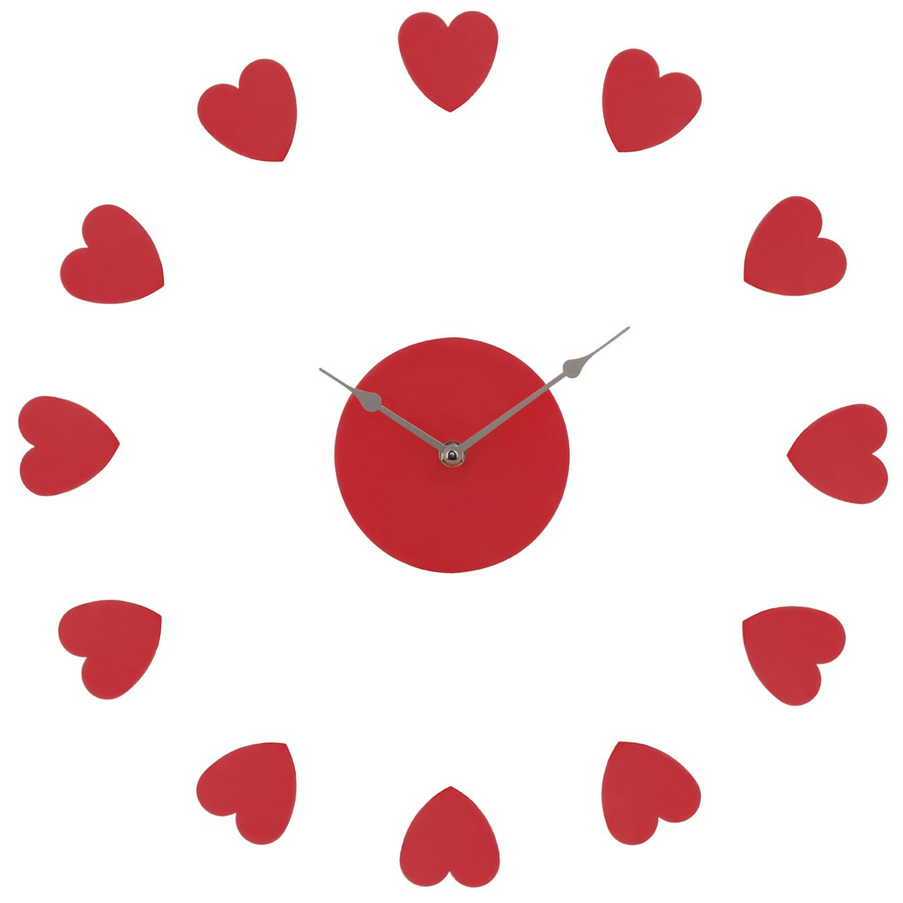 DIY Heart Wall Clock - Red