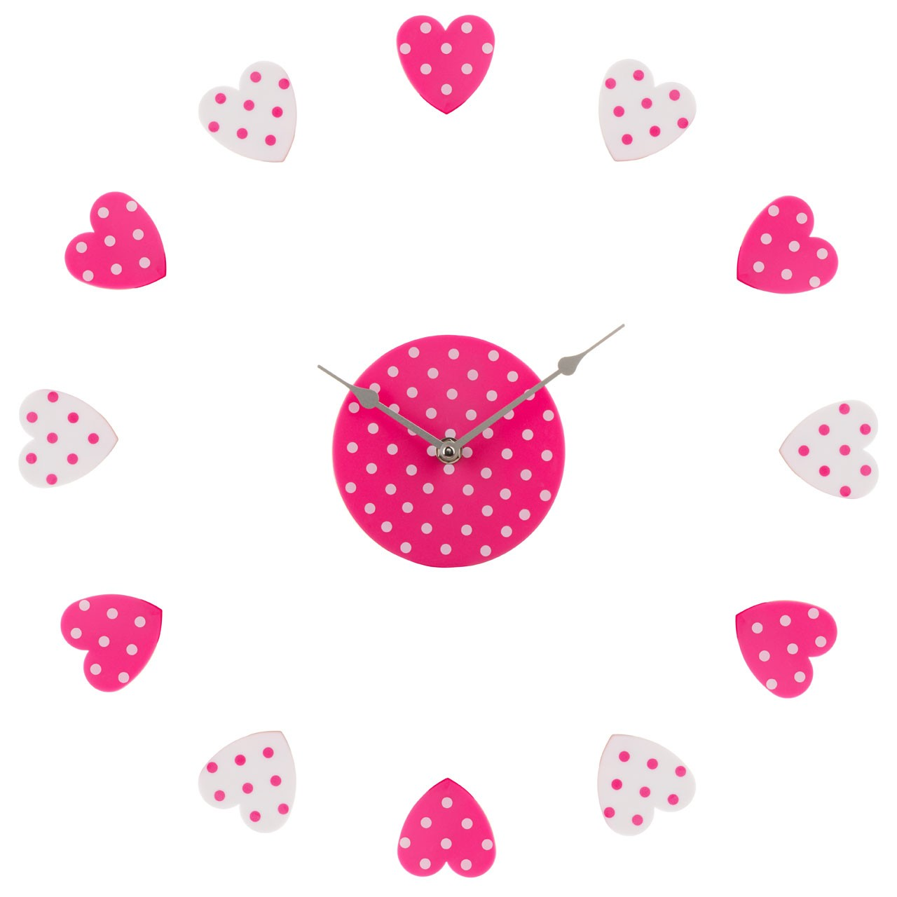 DIY Heart Wall Clock - Pink/White