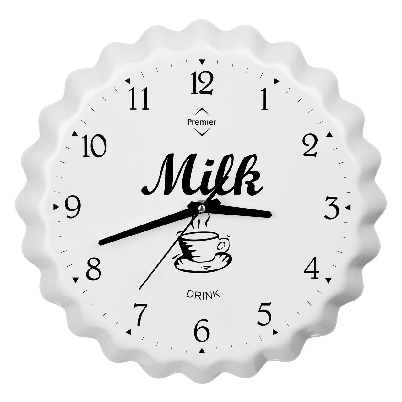 Milk Bottle Cap Wall Clock - White