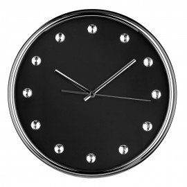 Wall Clock, Black Face/Clear Diamantes
