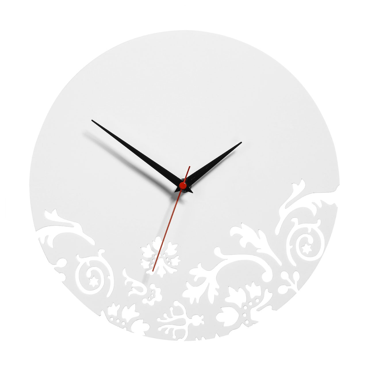 Prime Furnishing Floral Swirl Wall Clock - White