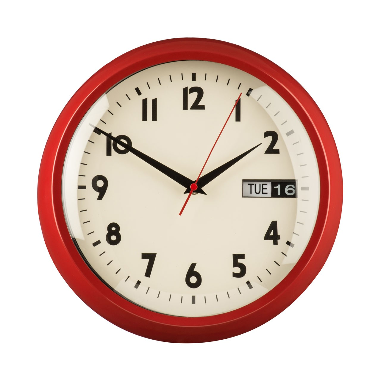 Prime Furnishing Wall Clock With Day/Date - Red
