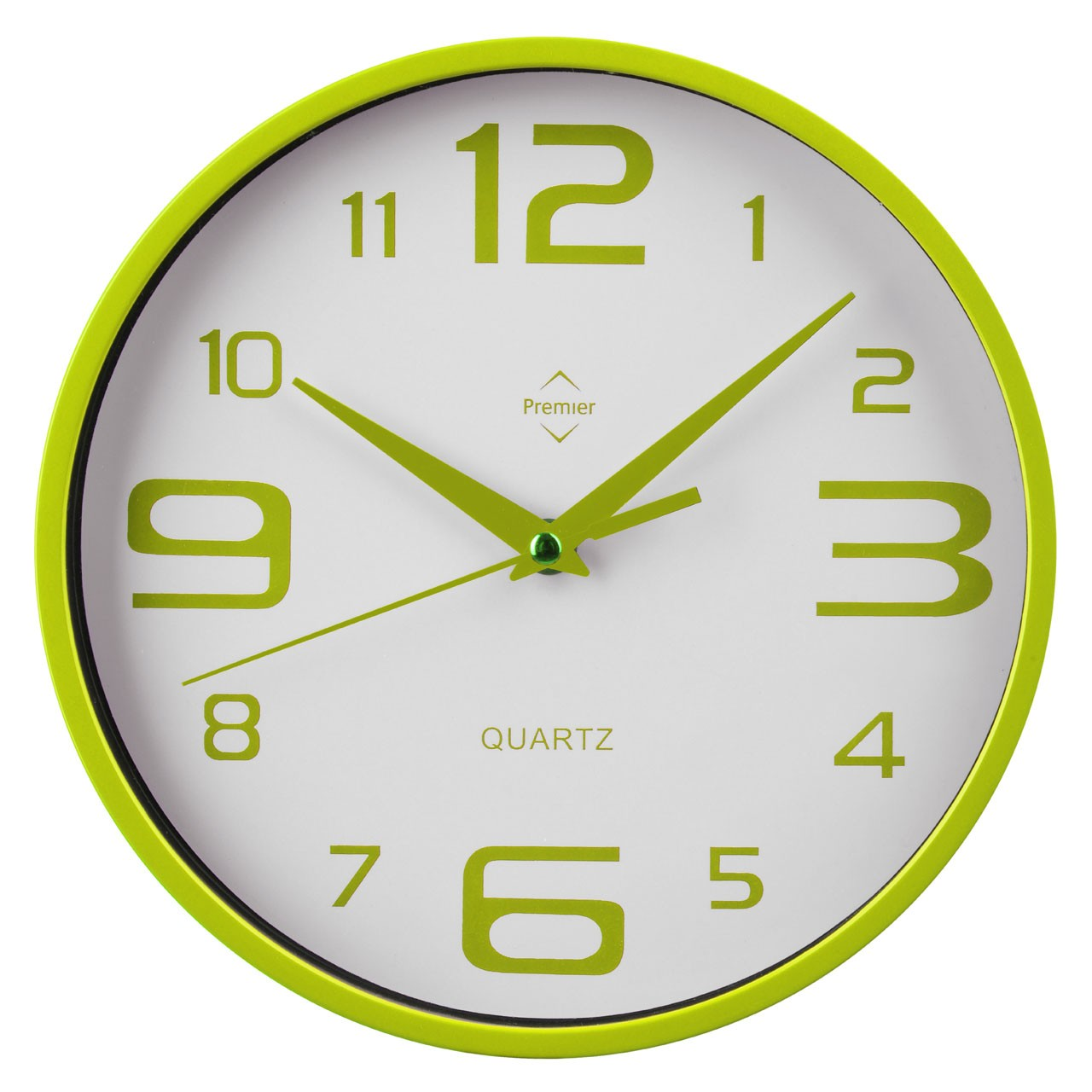 Prime Furnishing Wall Clock - Lime Green, White Plastic Frame