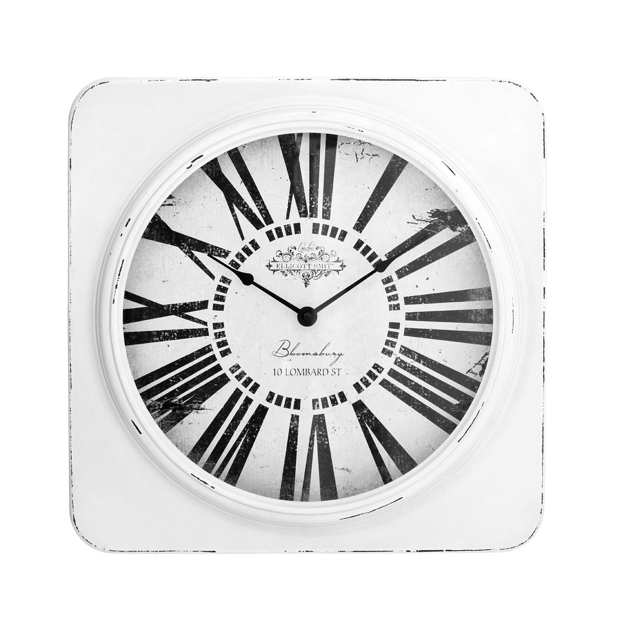 Prime Furnishing Antique Square Wall Clock - White