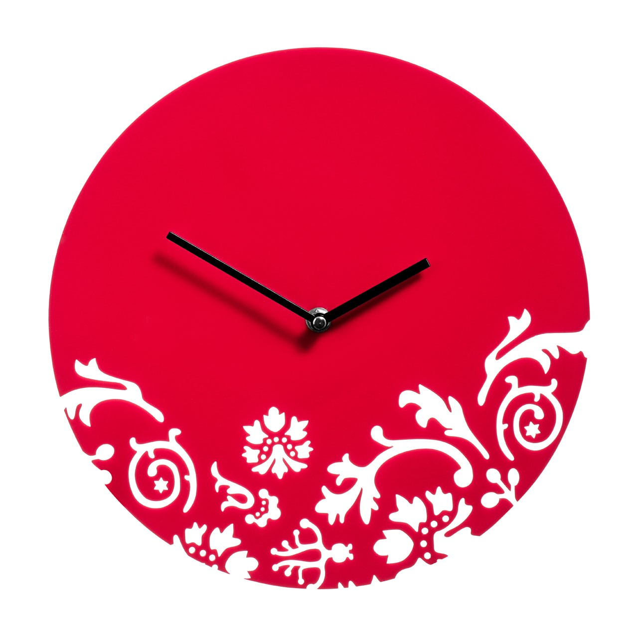 Prime Furnishing Floral Swirl Wall Clock - Red