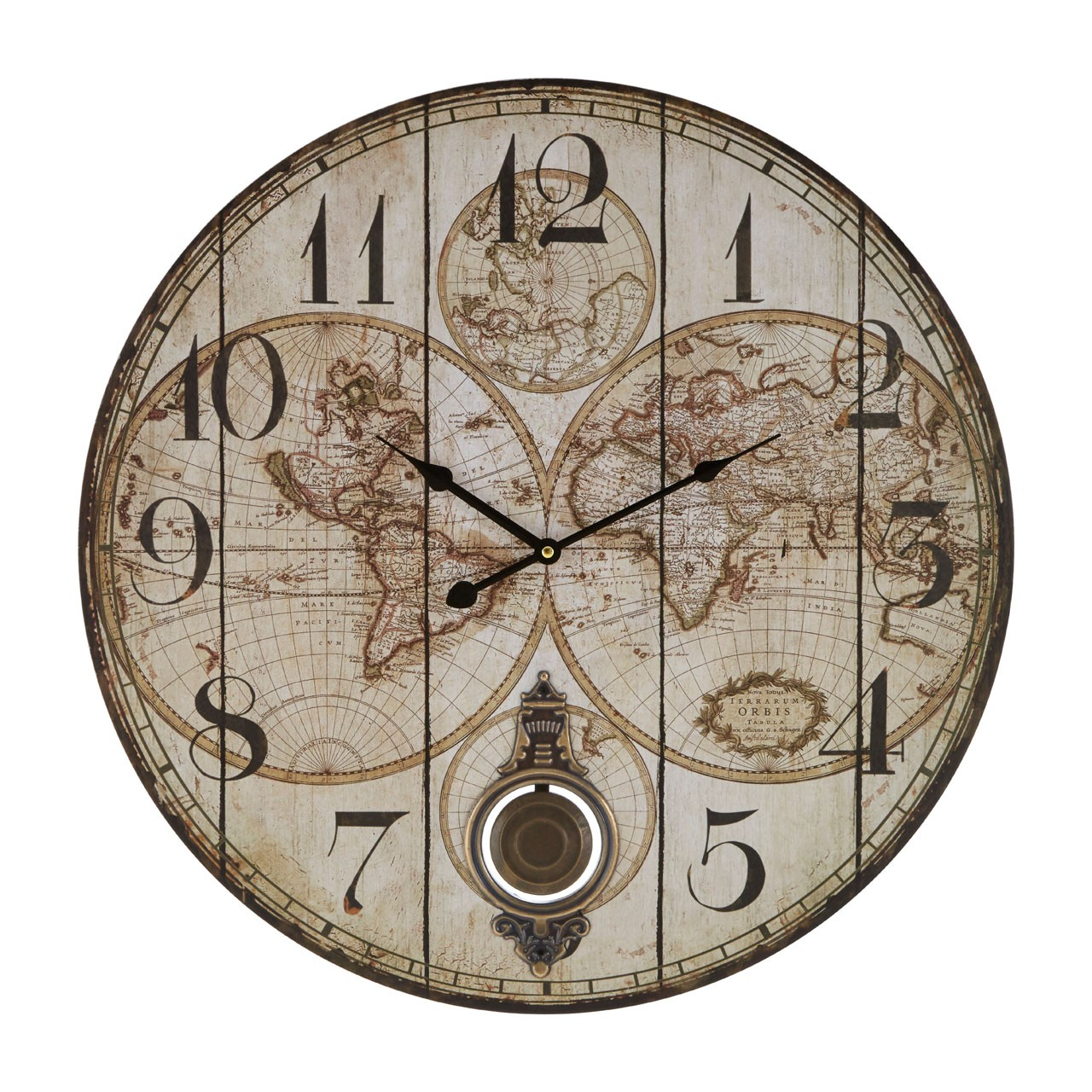 Prime Furnishing Classic Global Wall Clock, MDF/Paper