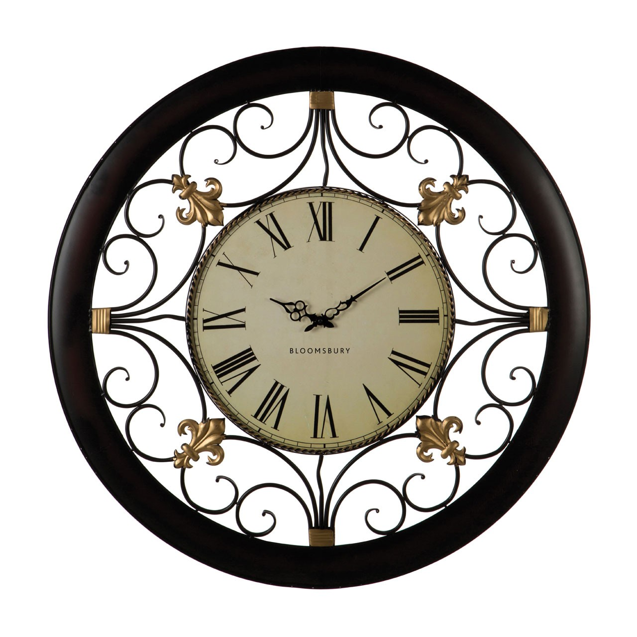 Prime Furnishing Wall Clock With Scroll Detail - Black Metal