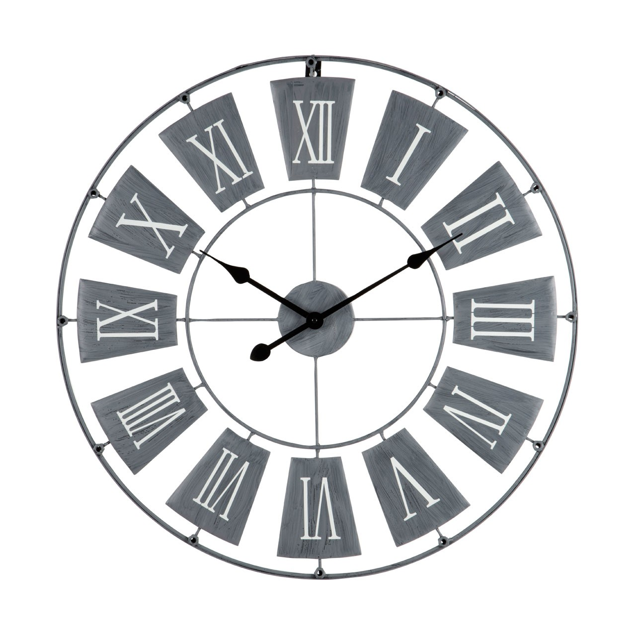 Prime Furnishing Roman Numeral Round Metal Wall Clock - Grey