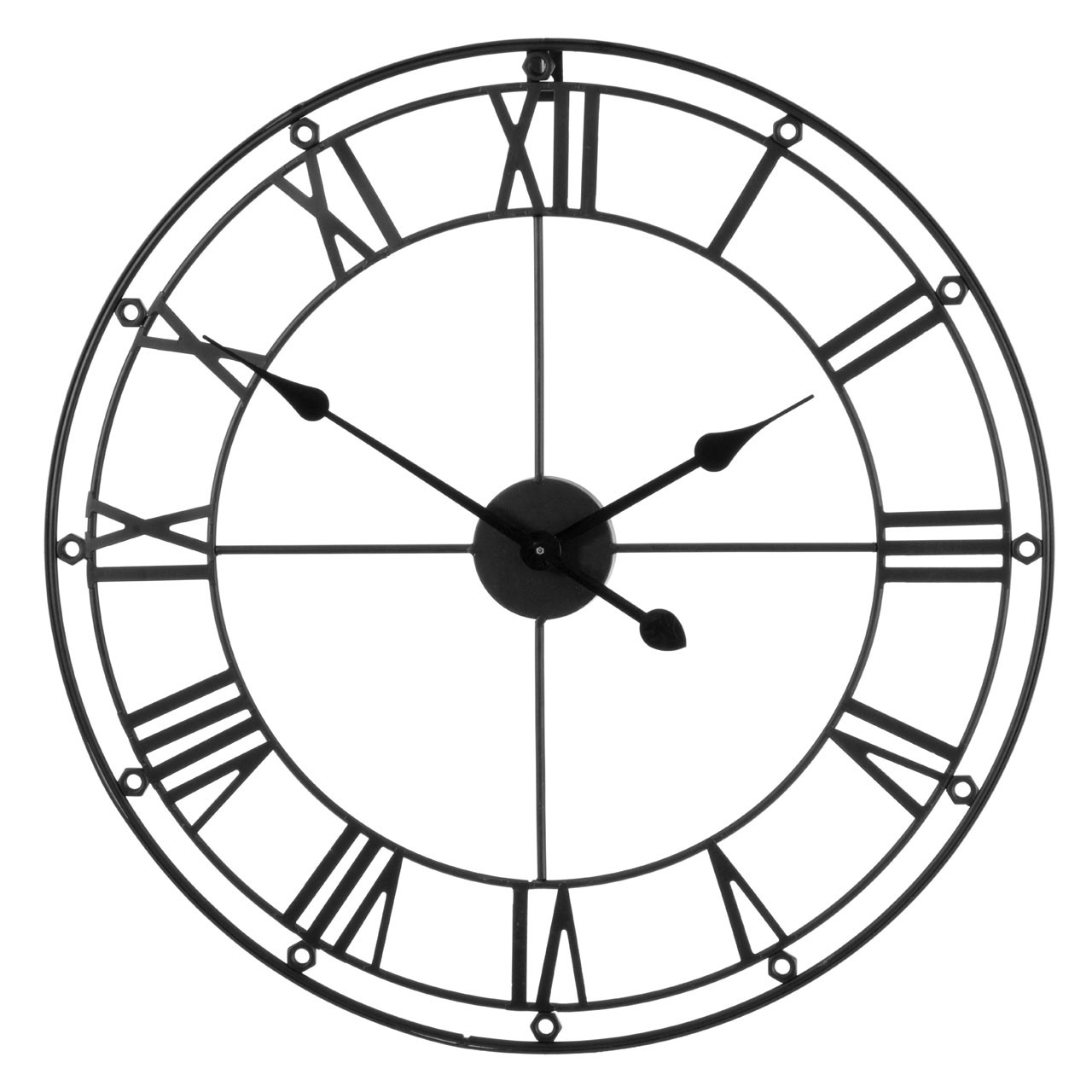Prime Furnishing Metal Wall Clock With Gold Hands -Matte Black