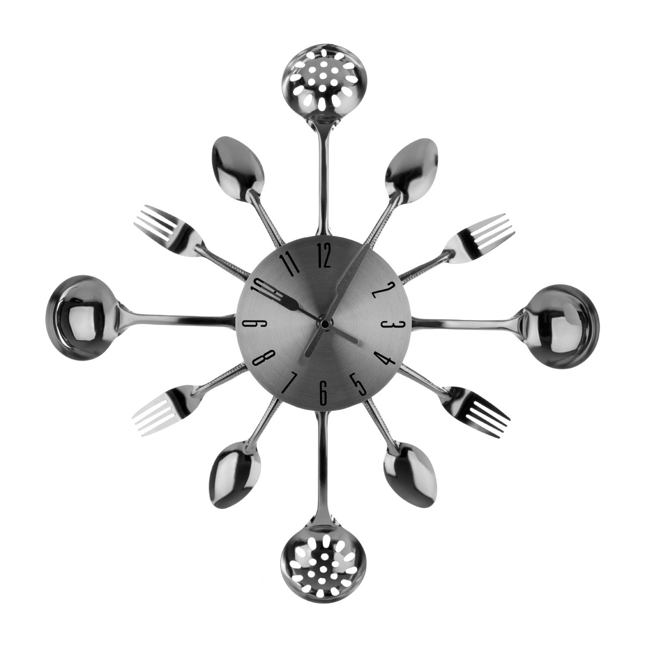 Prime Furnishing Cutlery Wall Clock, Chrome/Metal