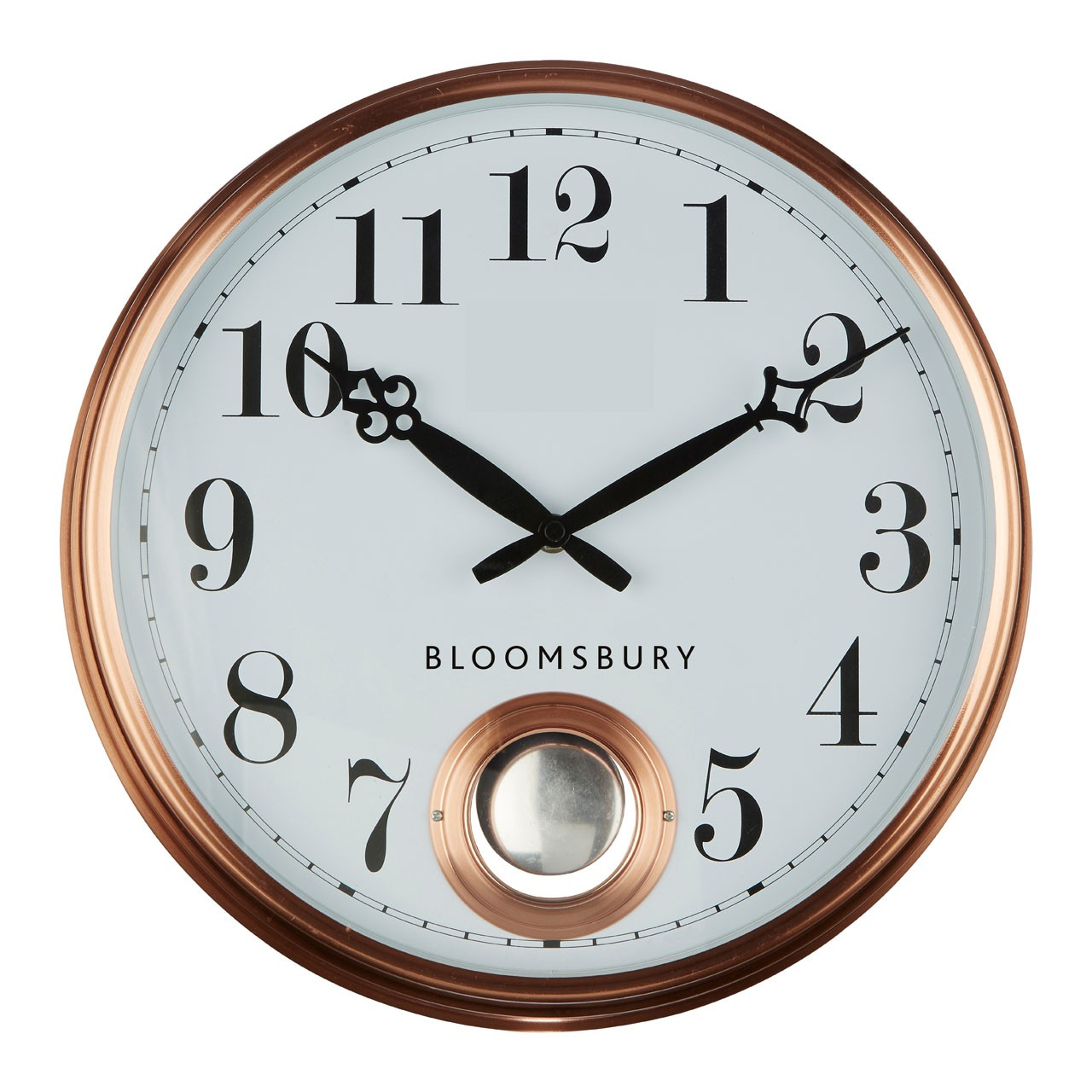 Prime Furnishing Bloomsbury Pendulum Wall Clock, Metal - Copper