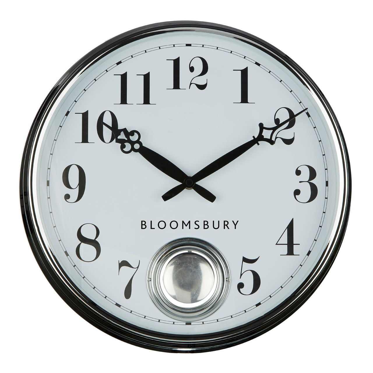 Prime Furnishing Bloomsbury Pendulum Wall Clock, Chrome