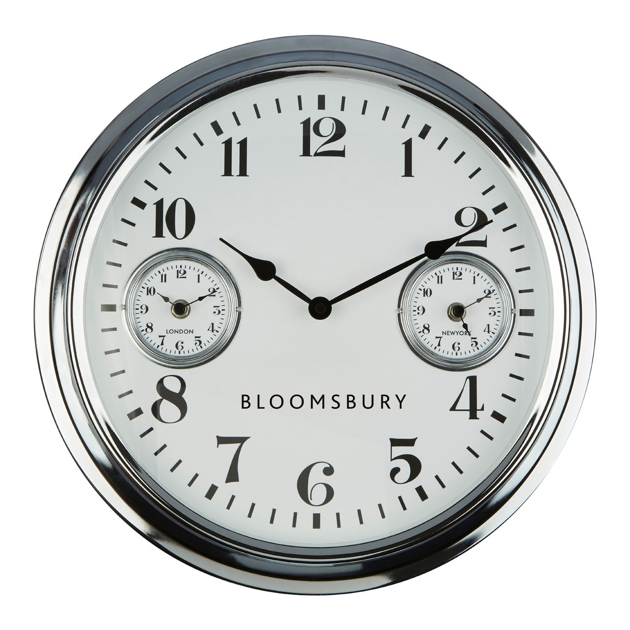 Prime Furnishing Bloomsbury Wall Clock, Chrome