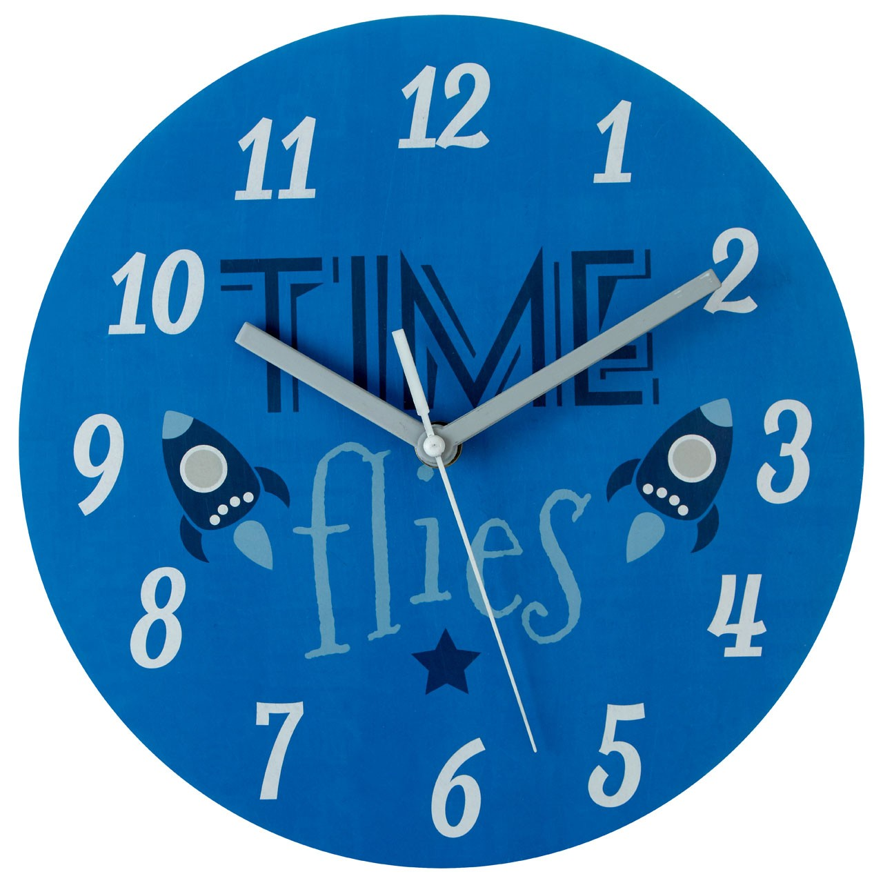 "Prime Furnishing ""Time Flies"" Kids Wall Clock - Blue"