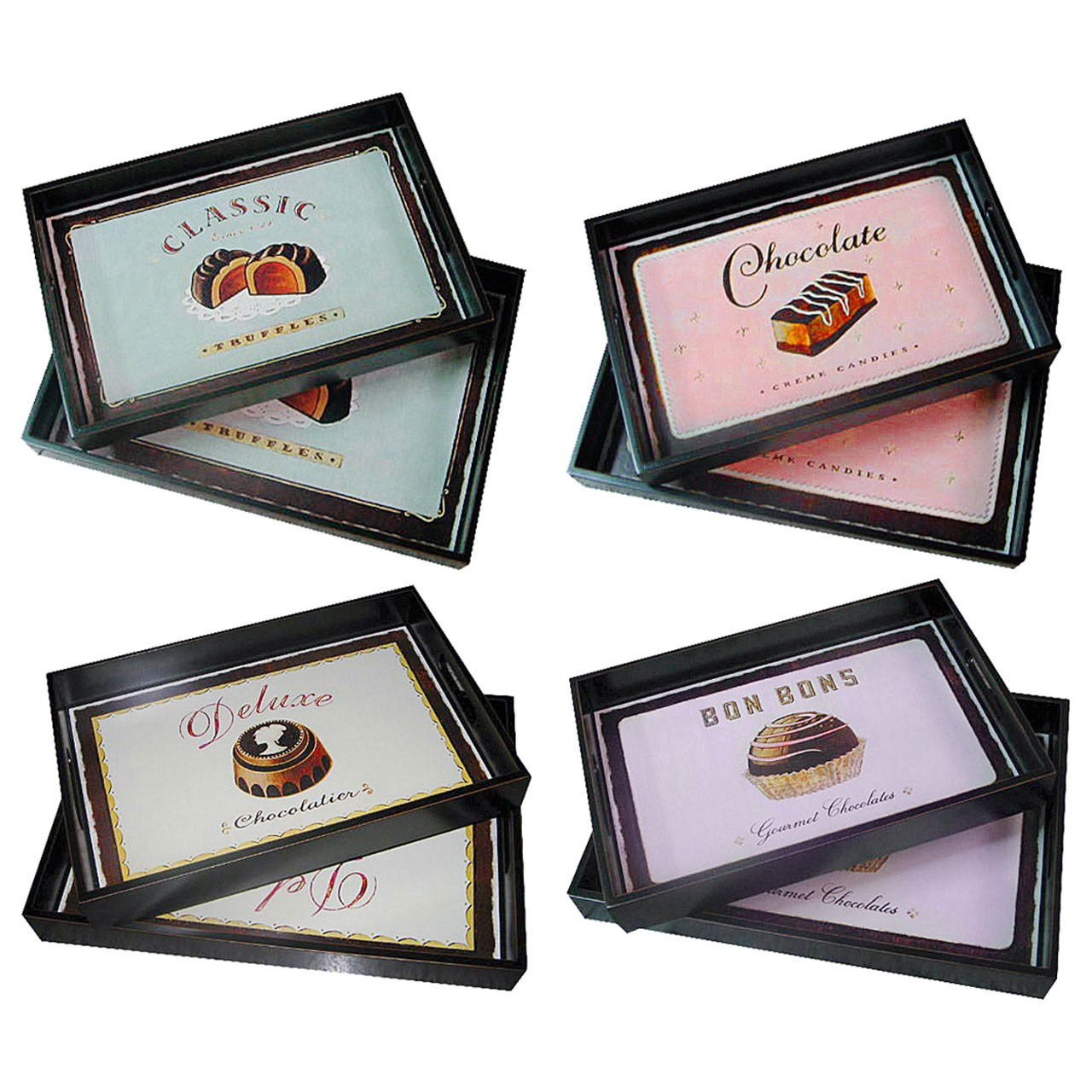 Set Of 2 Wooden Serving Trays, 4 Assorted Designs
