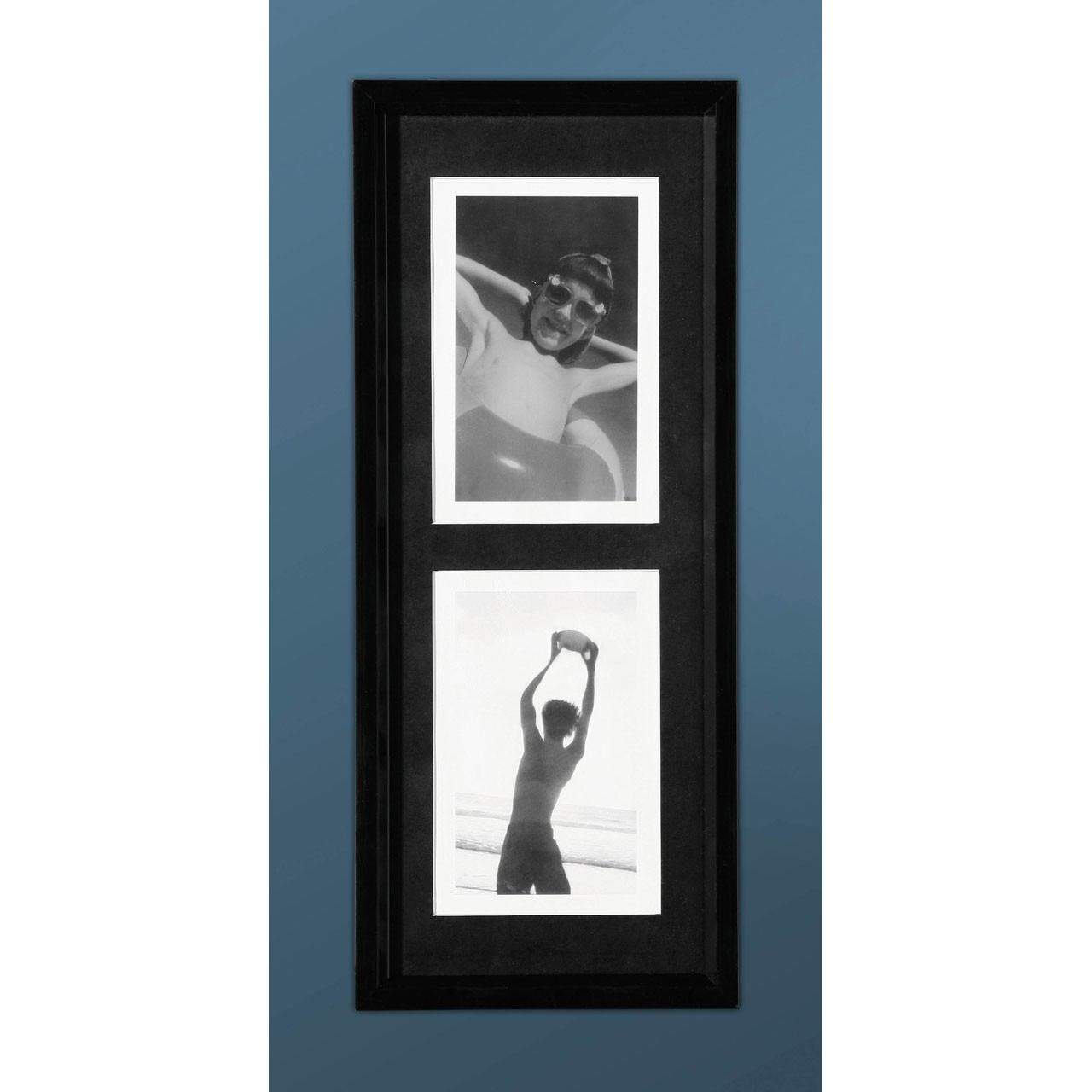 2 Picture Photo Frame, Black Plastic, 4 x 6""