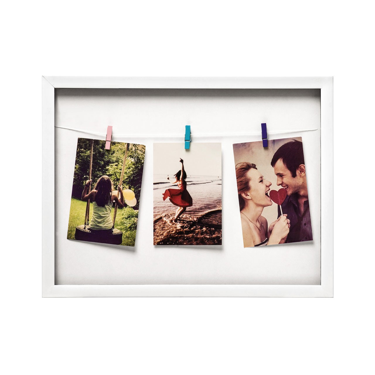 Prime Furnishing 3 Peg Washing Line Plastic Photo Frame - White