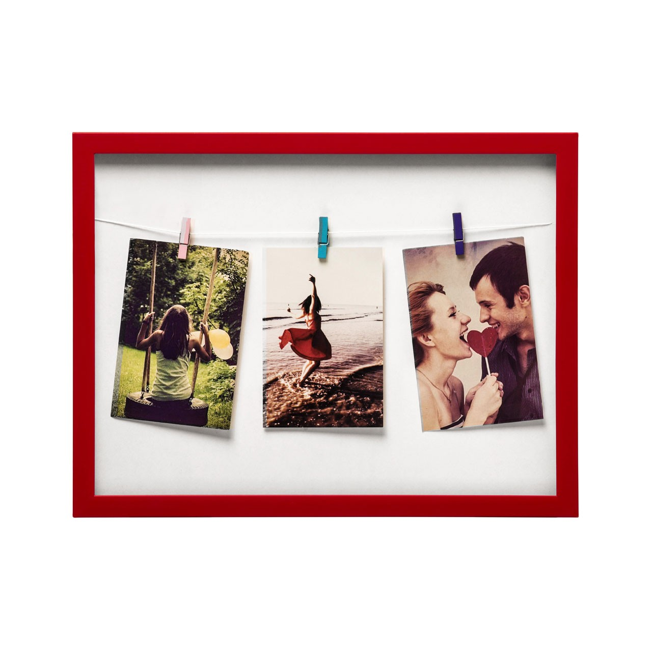 Prime Furnishing 3 Peg Washing Line Plastic Photo Frame - Red