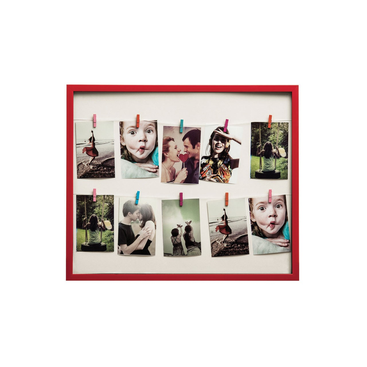 Prime Furnishing 10 Peg Washing Line Plastic Photo Frame - Red