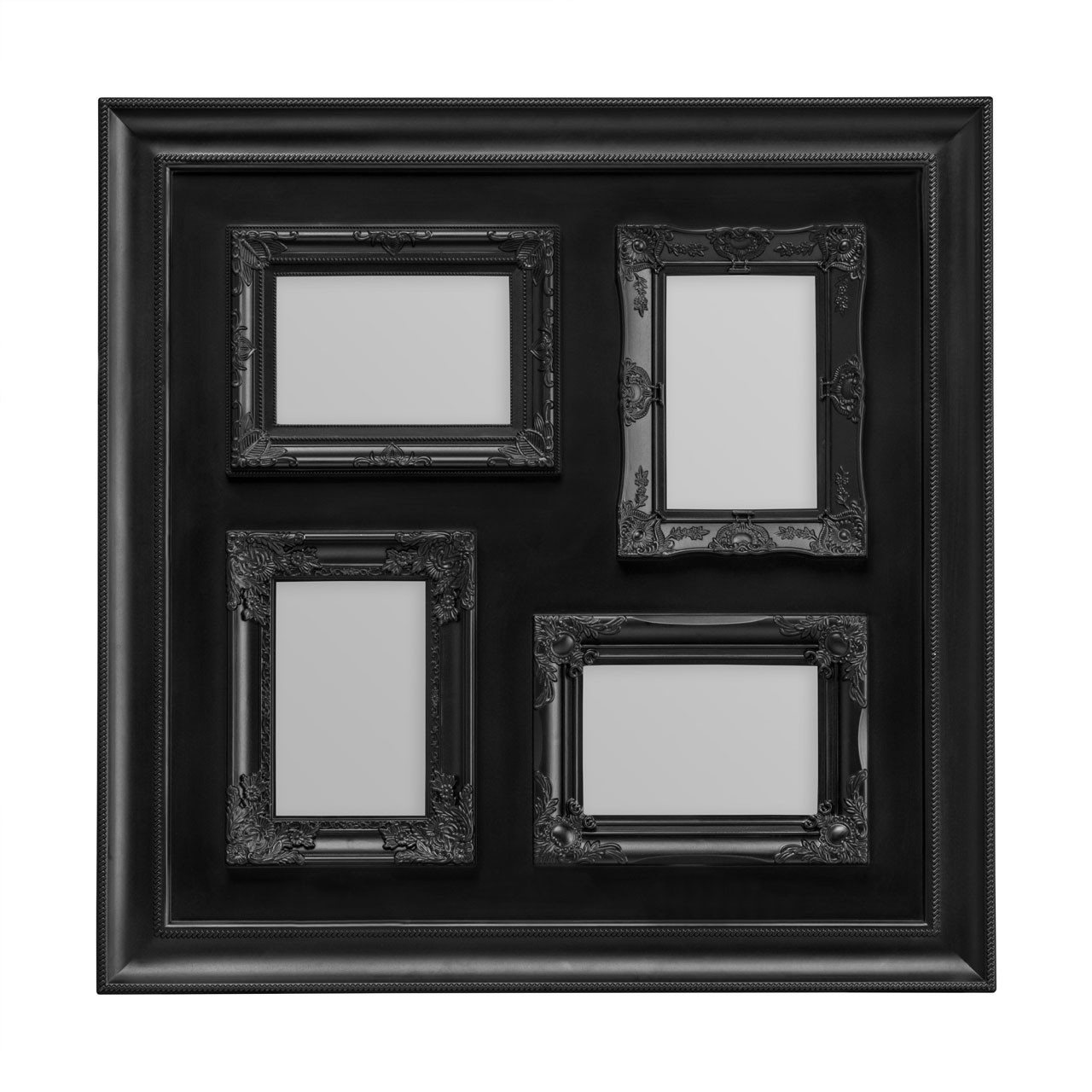 "Prime Furnishing 4 Photos Plastic Photo Frame, 4 x 6"" - Black"