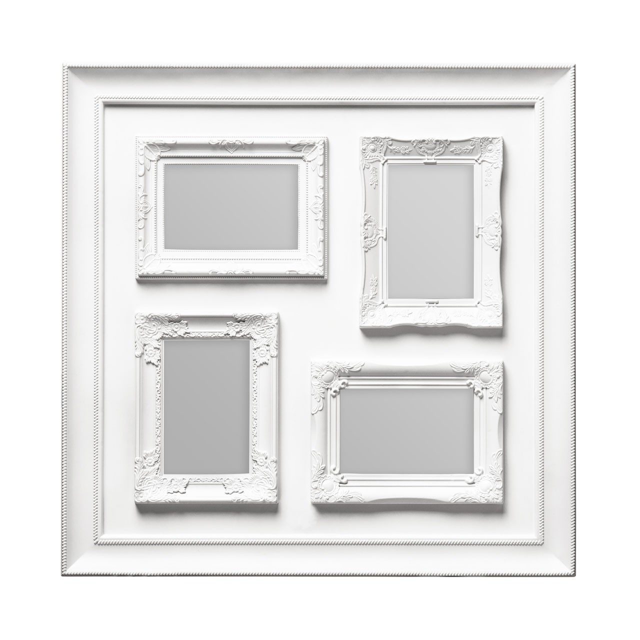 "Prime Furnishing 4 Photos Plastic Photo Frame, 4 x 6"" - White"