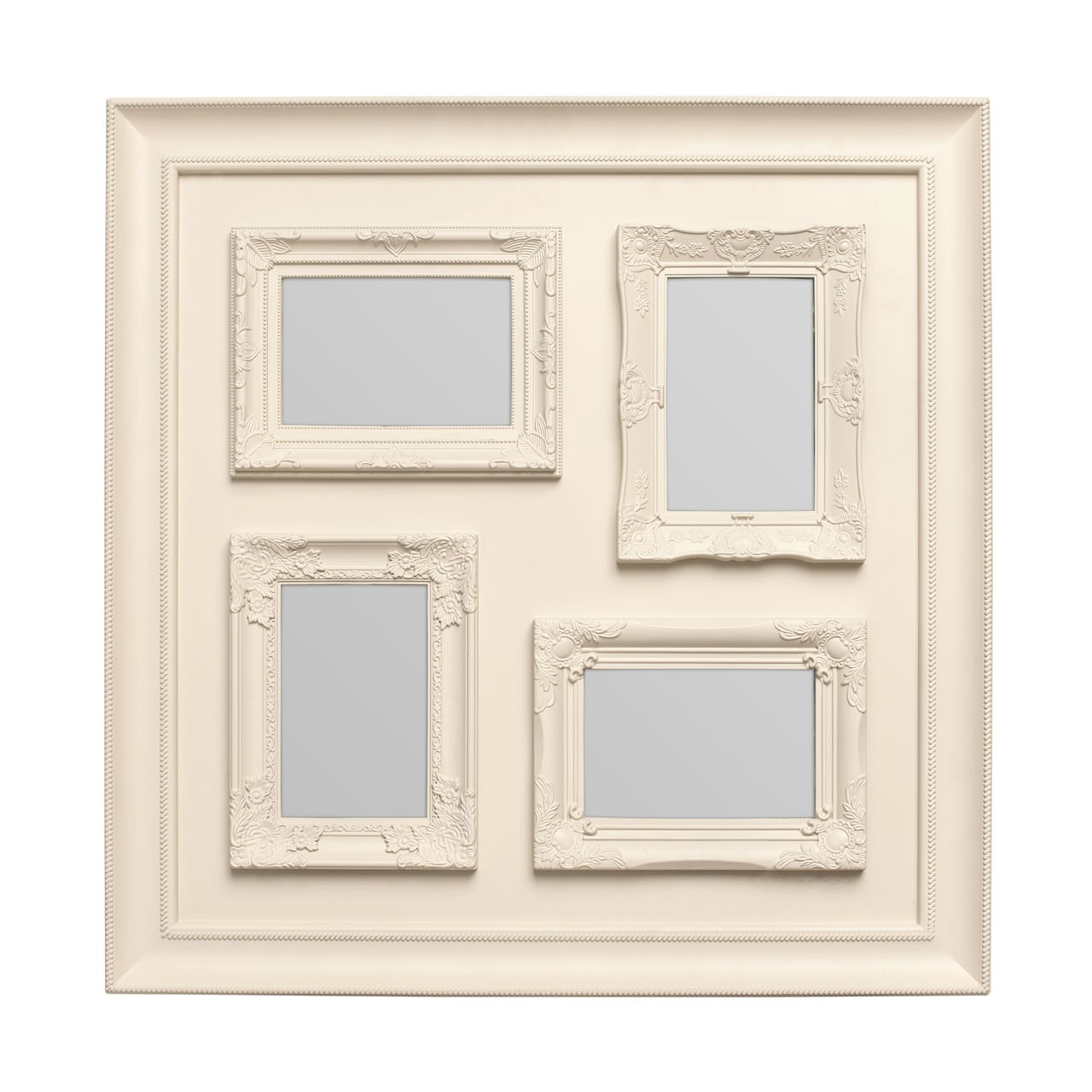 "Prime Furnishing 4 Photos Plastic Photo Frame, 4 x 6"" - Cream"