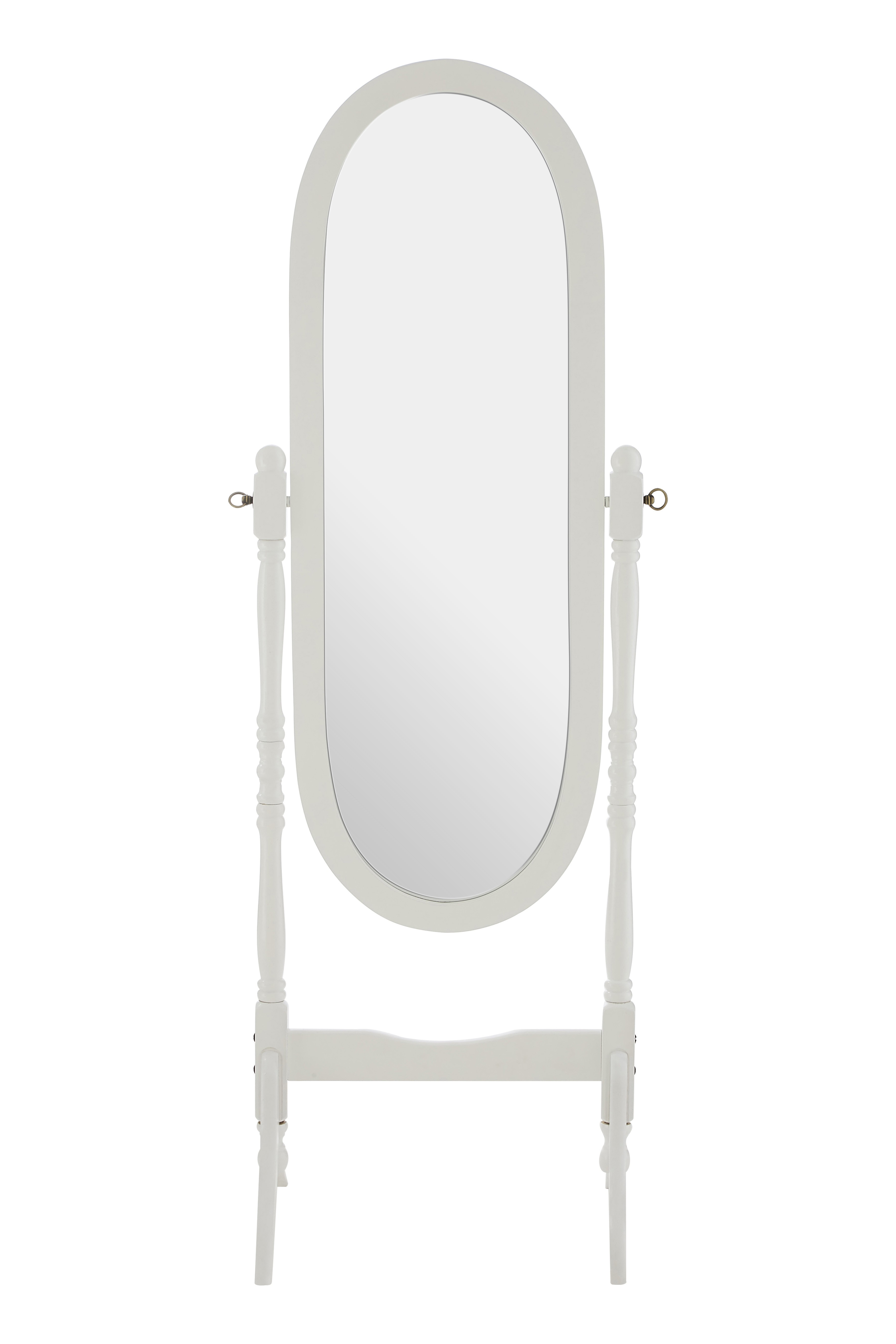 Oval Cheval Mirror, Floor Standing, White Wood Frame