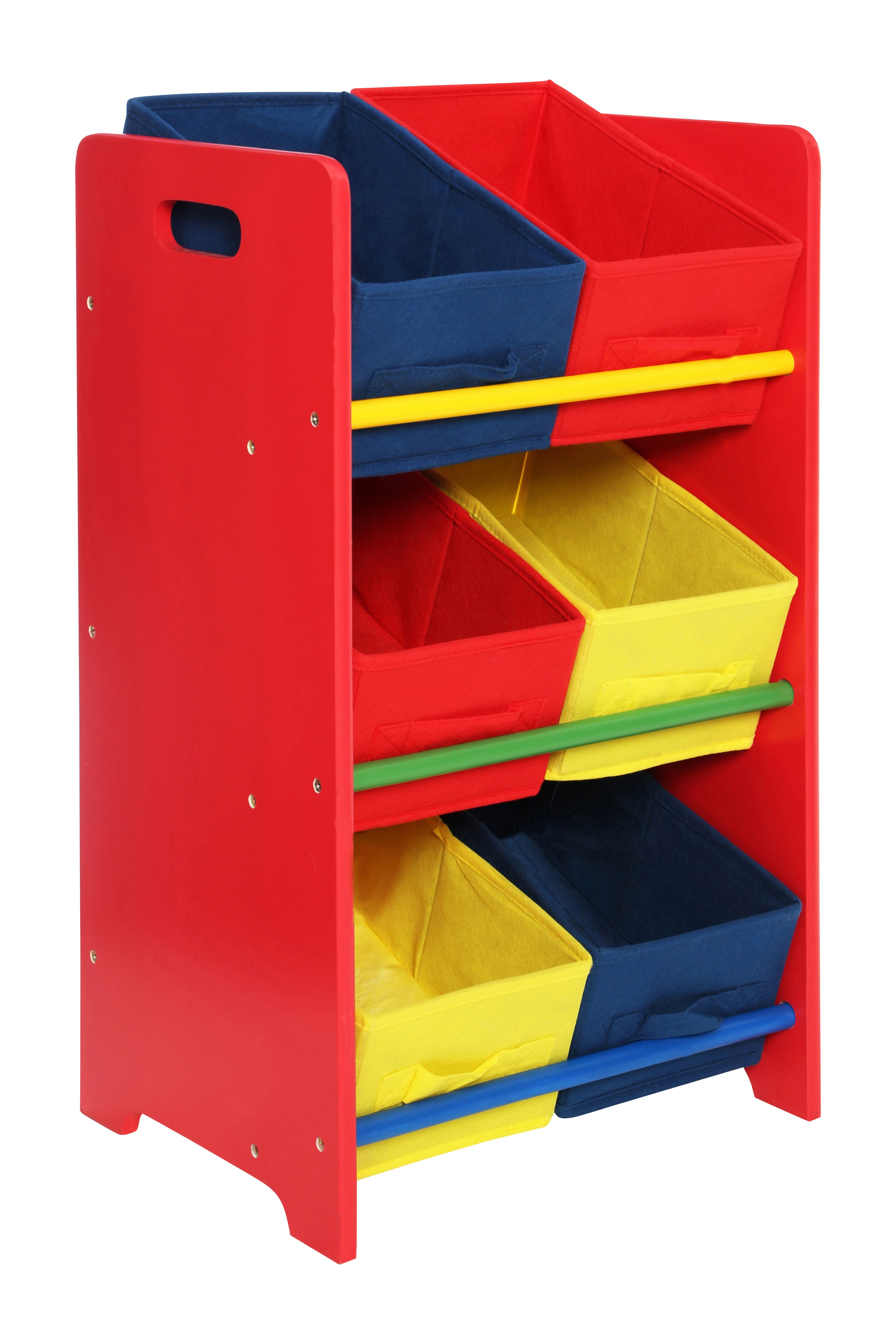 3-Tier Storage Unit with Pine Frame and 6 Canvas Tubes