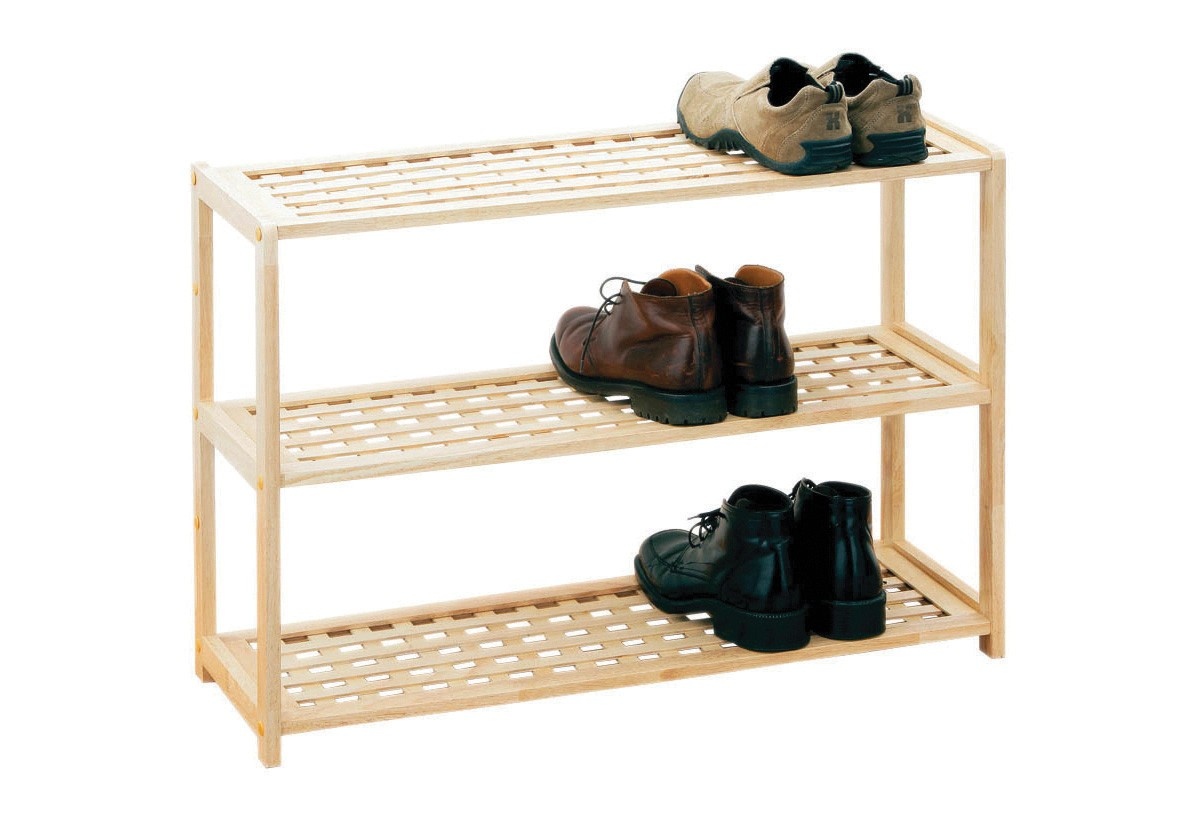 Prime Furnishing 3 Tier Rubberwood Shoe Rack