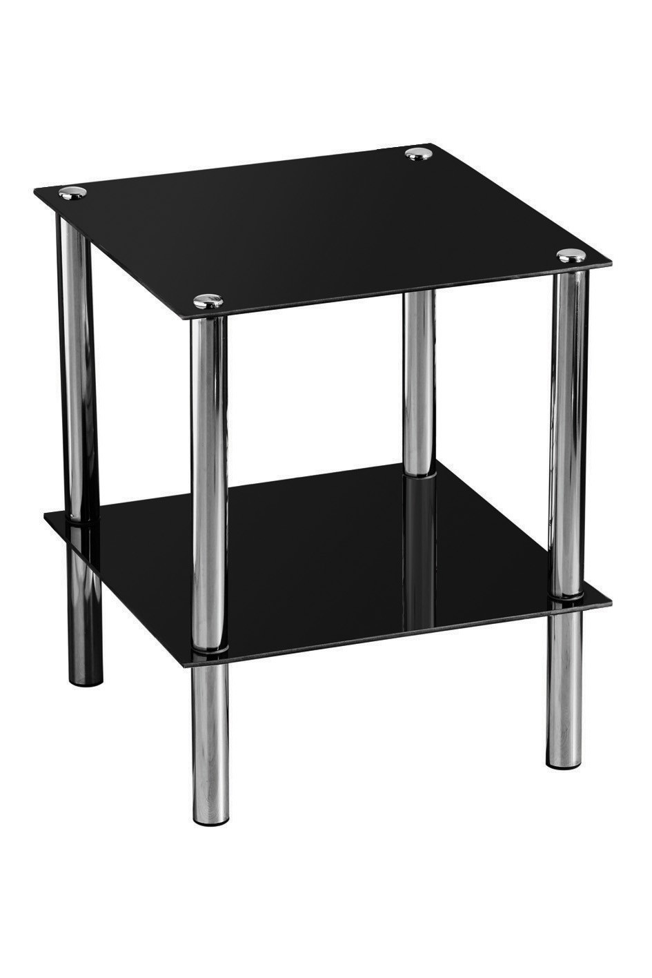 Two Tier End Table with Black Glass Shelves and Chrome Frame