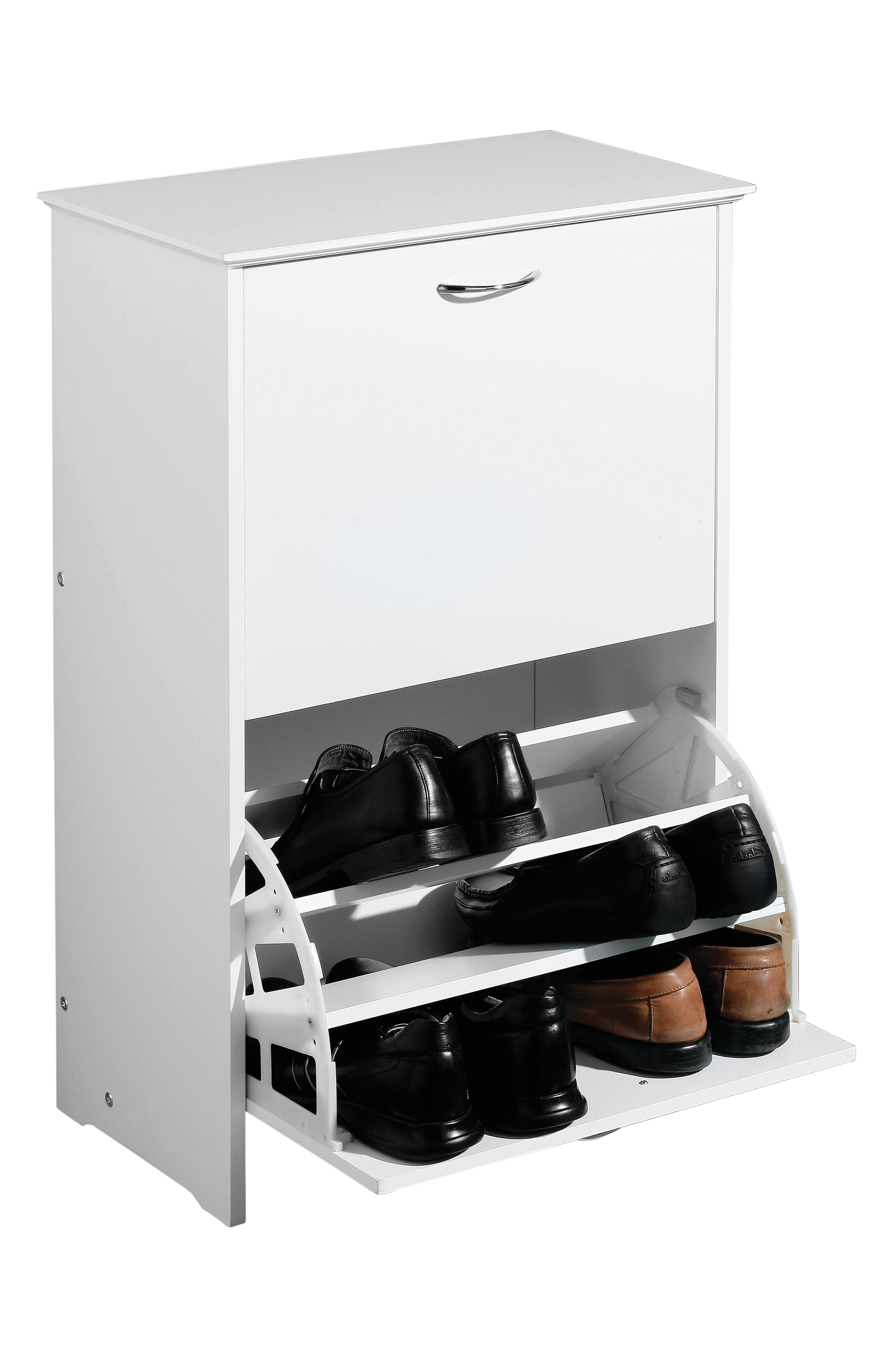 Prime Furnishing 2 Drawer Shoe Cupboard, MDF - White