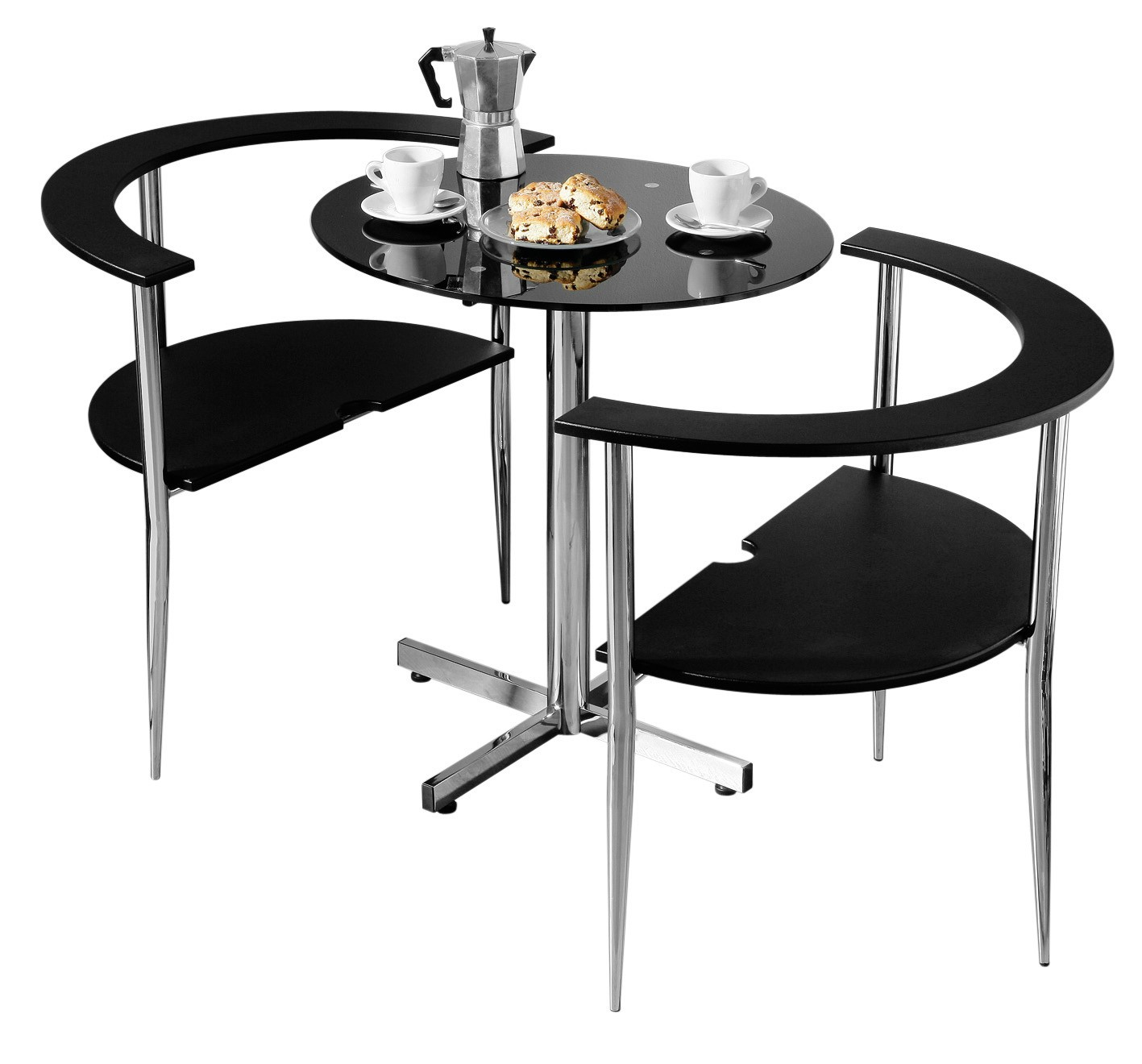 Love Dining Set, Black Tempered Glass Table Top, Chrome Frame
