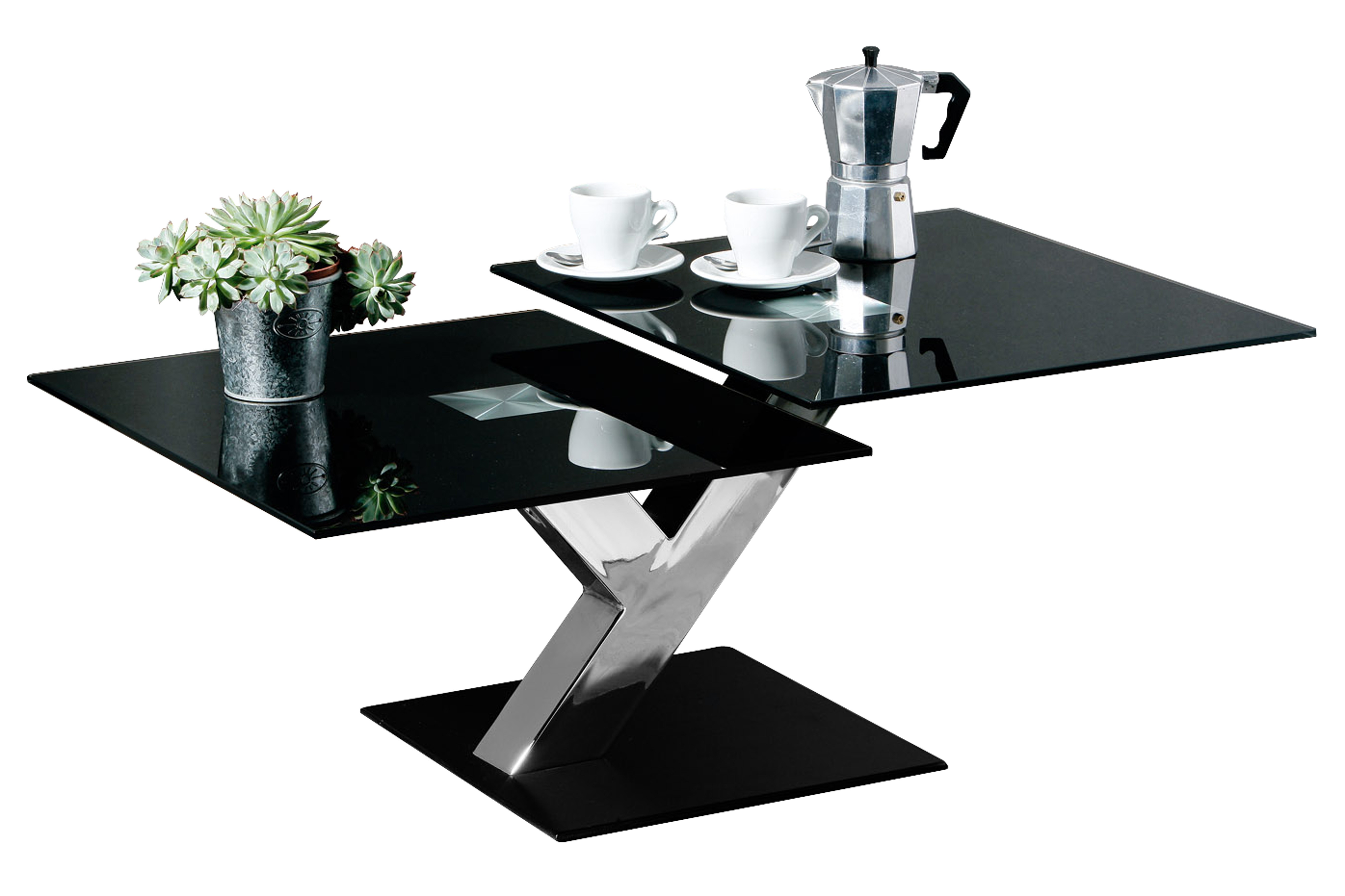 Coffee Table, Tempered Black Glass, Chrome Finish Leg