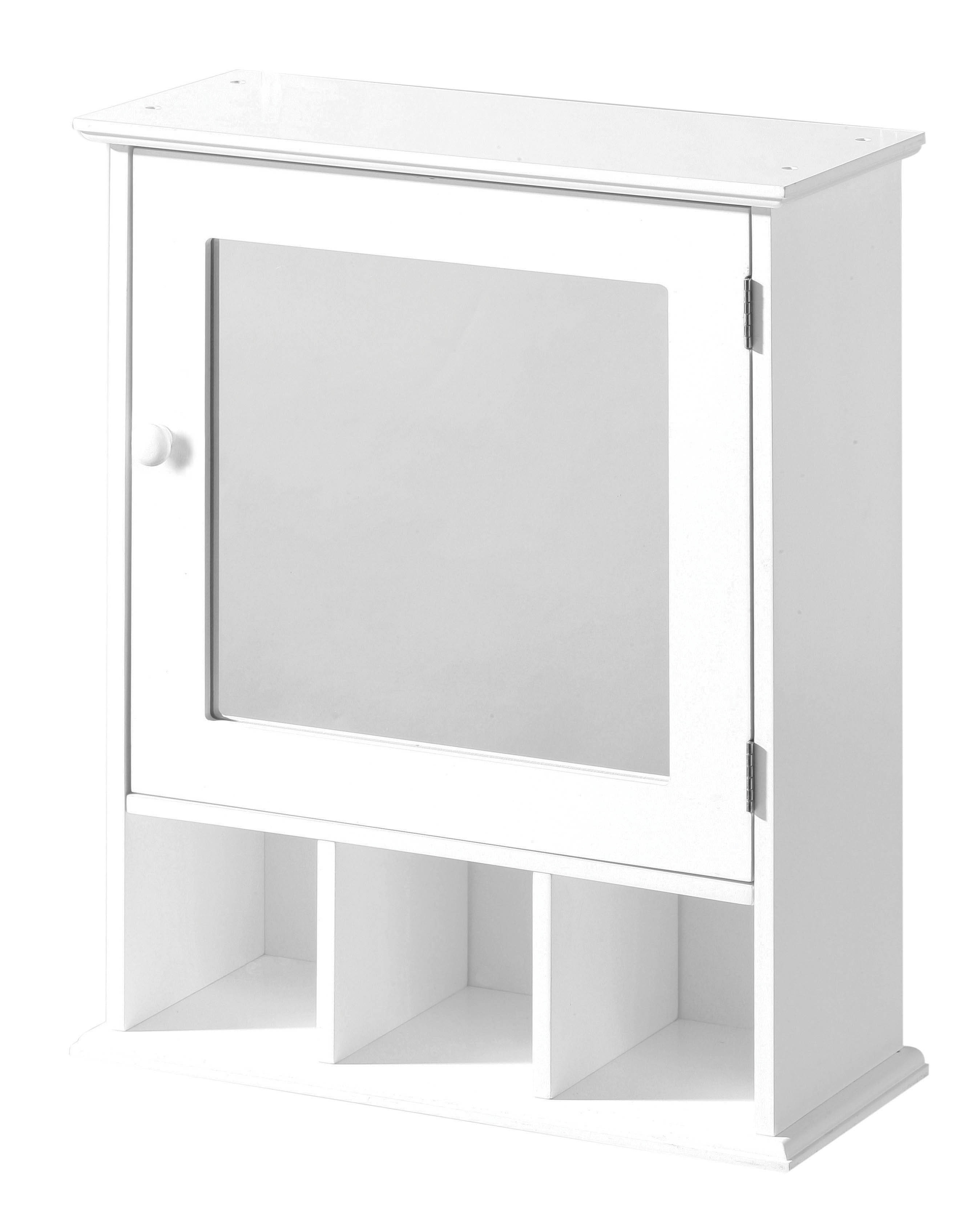 Bathroom Cabinet with Mirrored Door and 3 Compartments - White