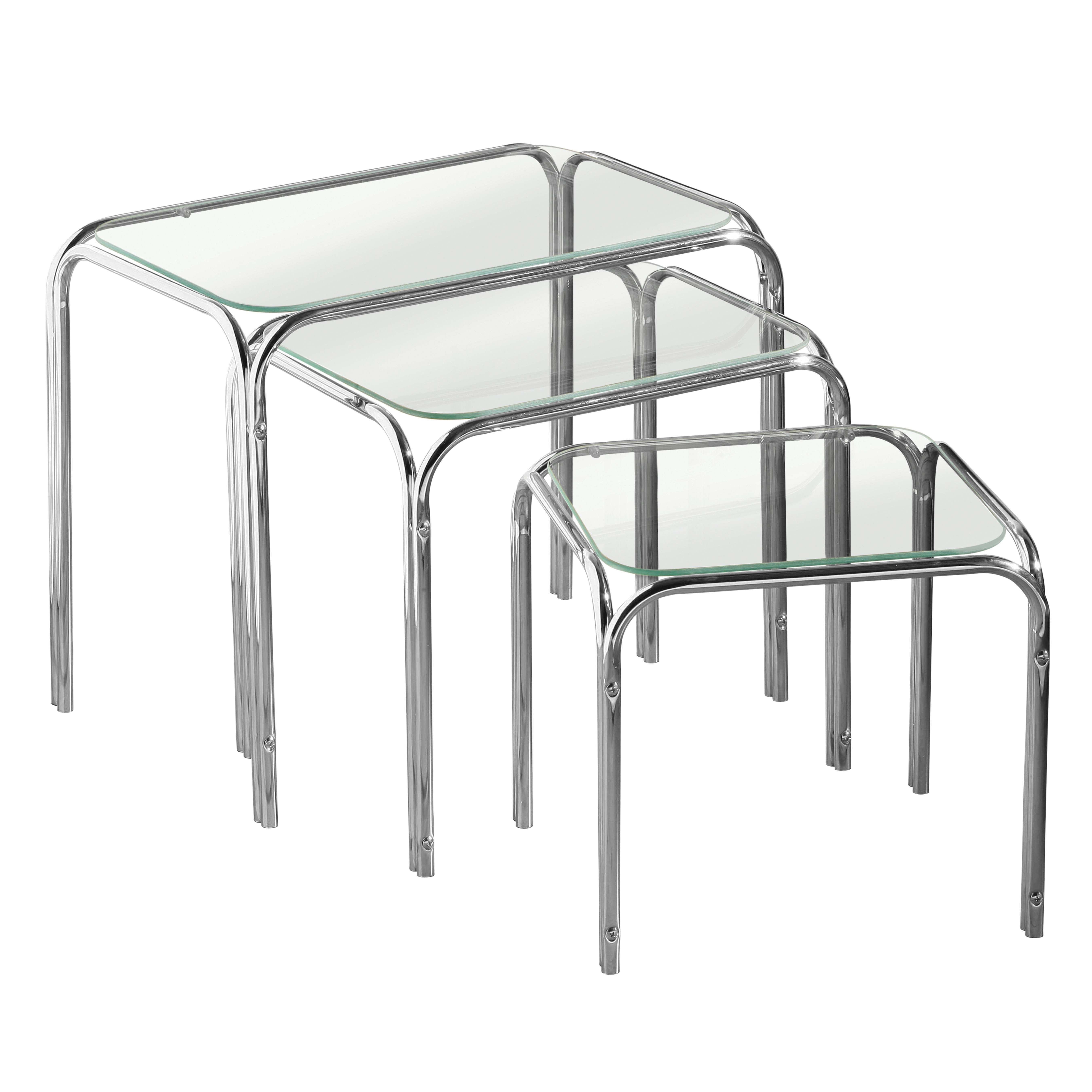 Nest of 3 Tables, Clear Glass, Chrome Finish Legs