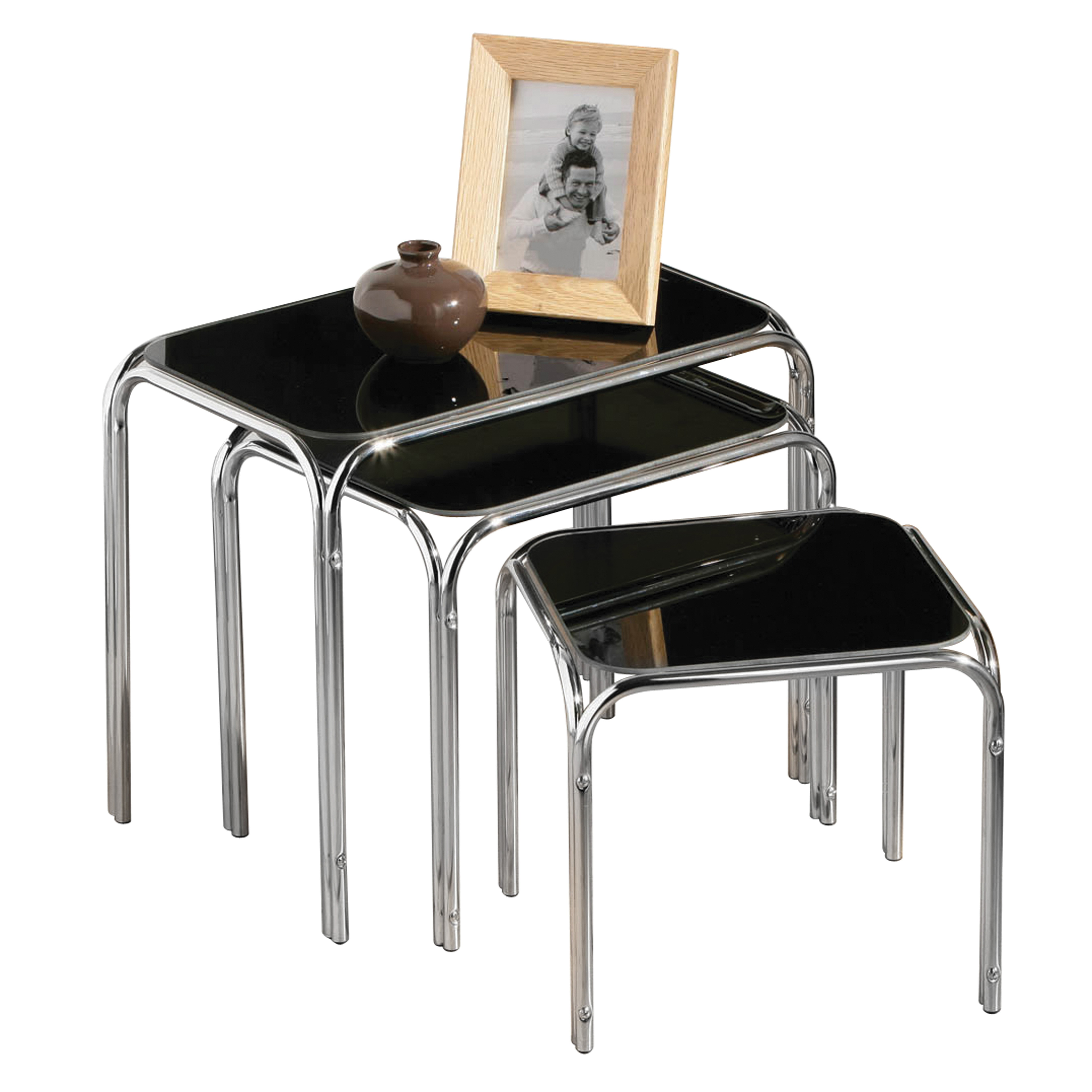 Nest of Tables with Black Glass Top and Chrome Legs - Set of 3