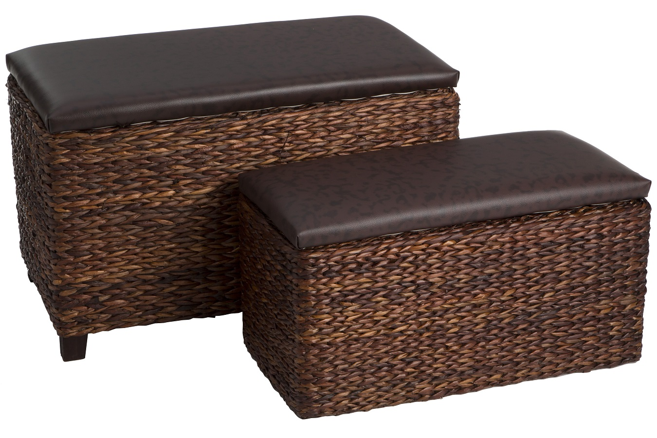 Cattail Leaf Storage Seats - Set of 2 - Brown