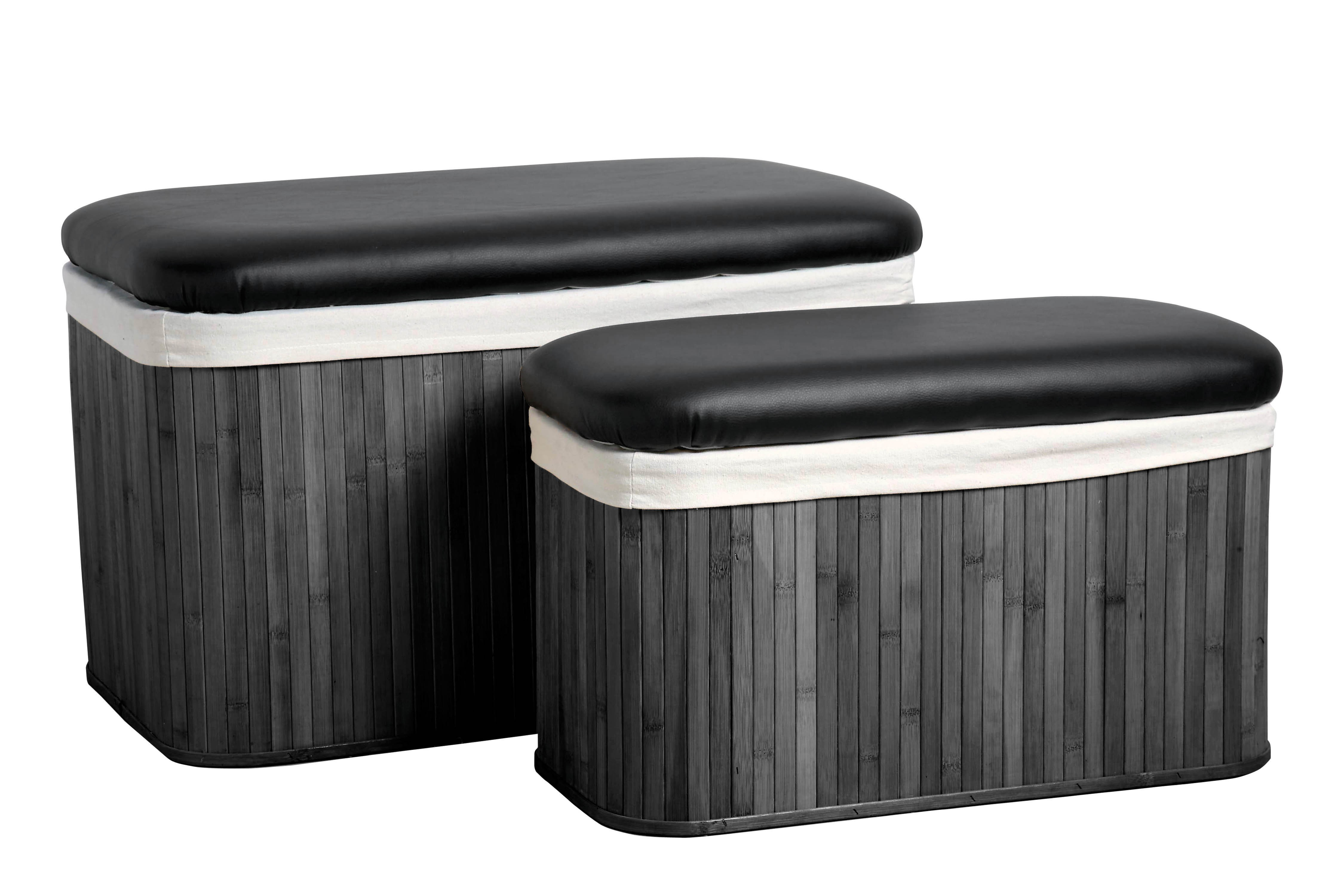 Bamboo Storage Ottomans - Black, Set of 2