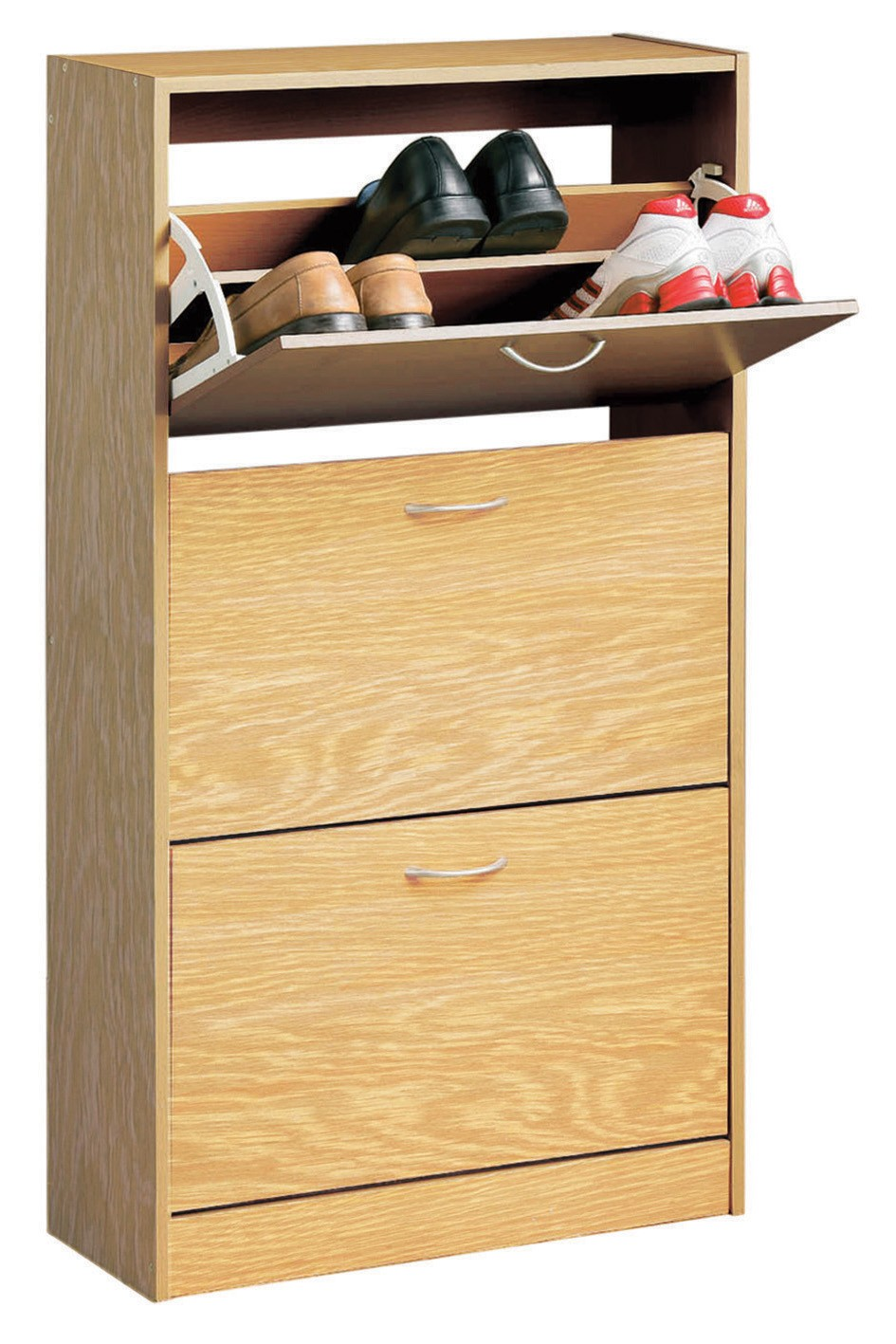 Prime Furnishing 3-Drawer Shoe Cabinet, Oak Veneer