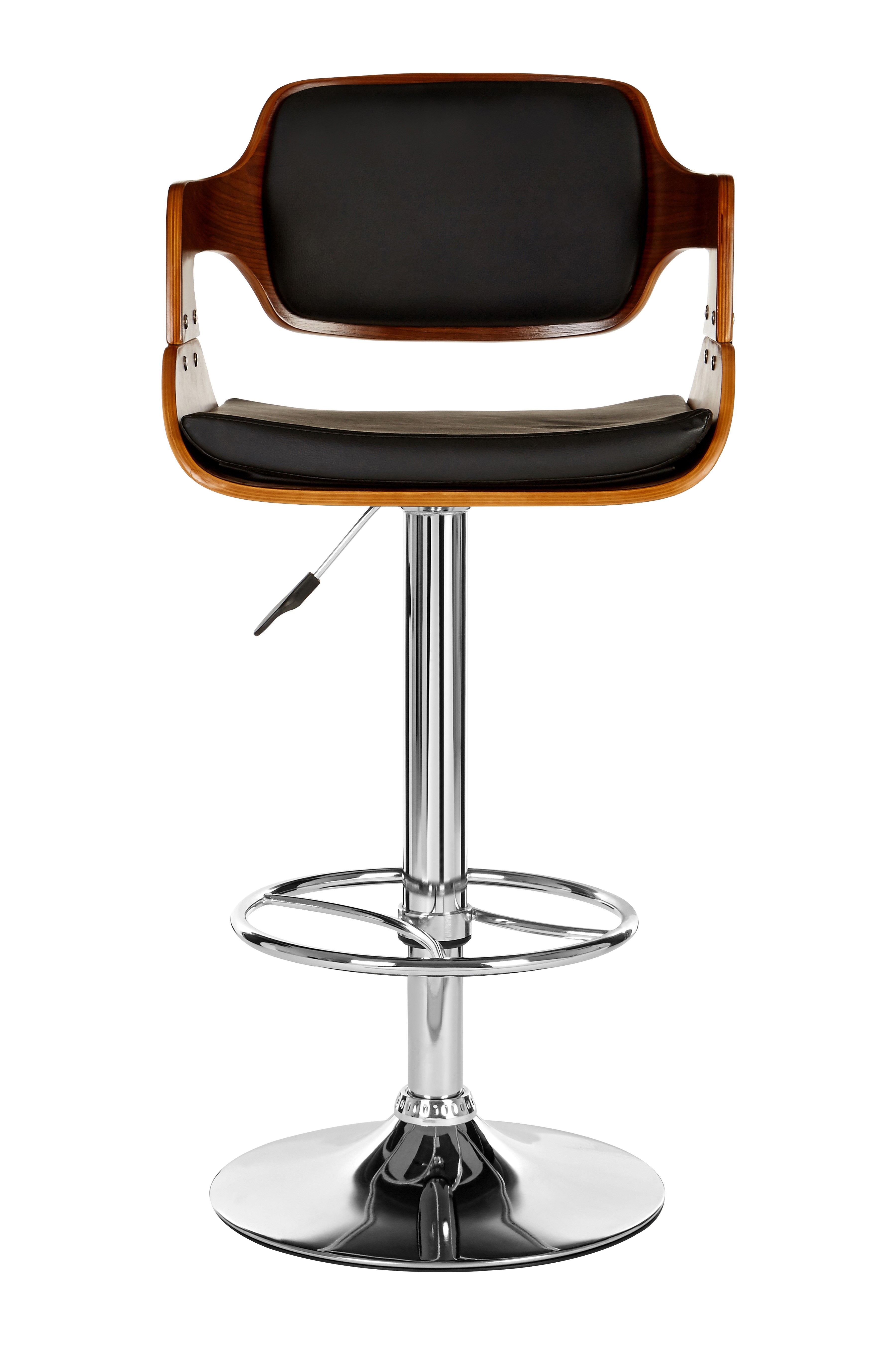 Walnut Wood and Leather Effect Bar Chair - Black
