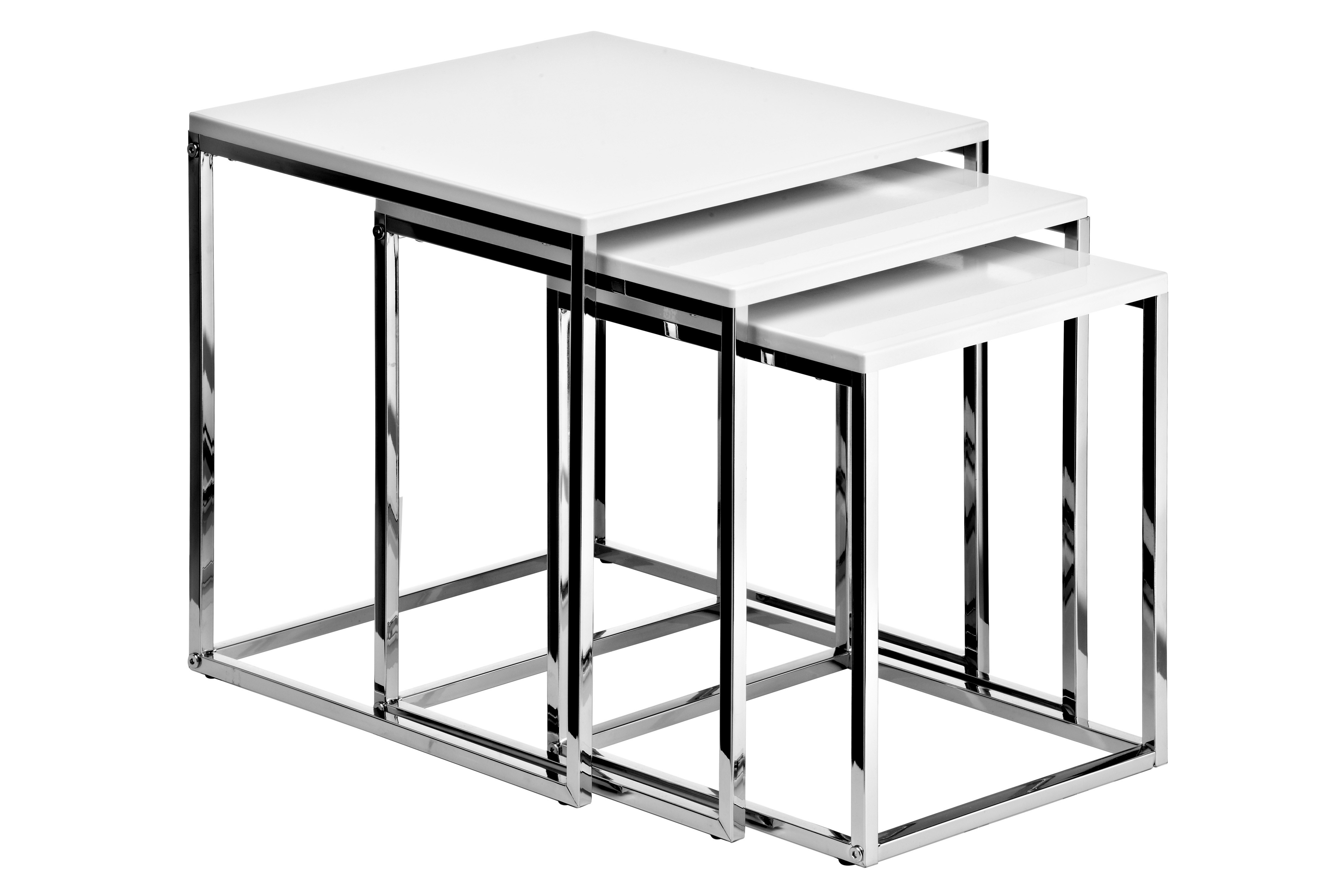 Nested Tables with Chrome Frame, White High Gloss, Set of 3