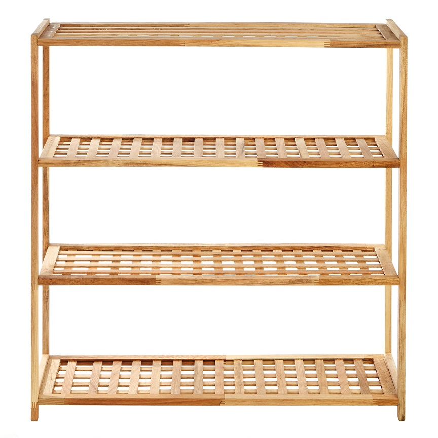 Prime Furnishing 4-Tier Wooden Shoe Rack- Natural Walnut