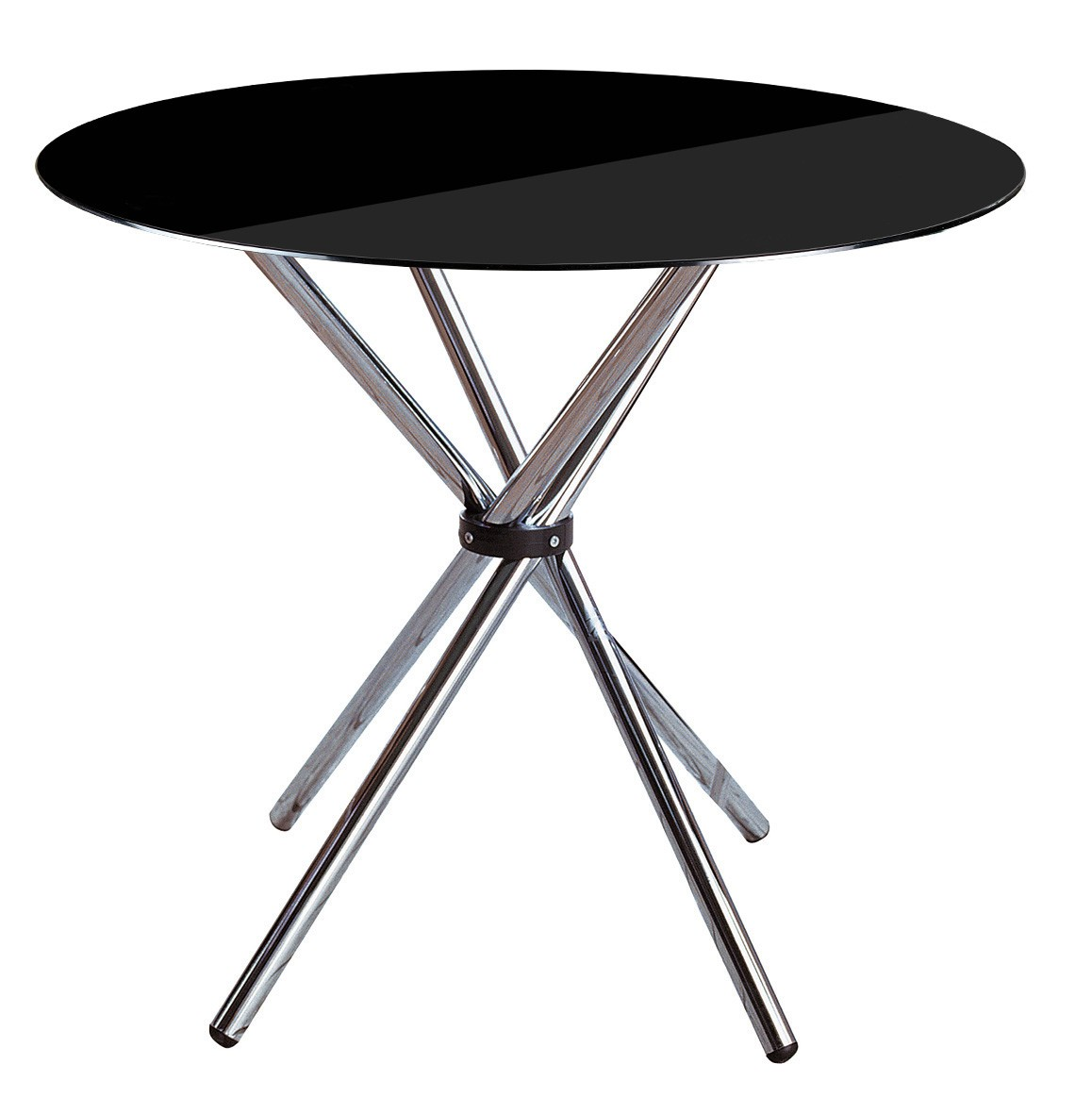 Dining Table, Black Tempered Glass, Chrome Finish Legs